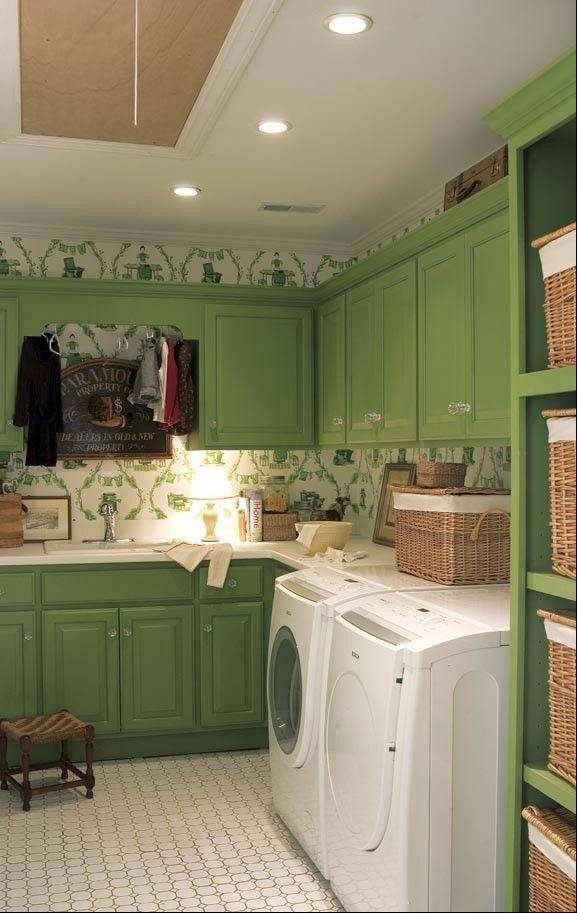 Brighten the walls of a laundry room with some paint or paper, then use baskets to organize laundry-room essentials.