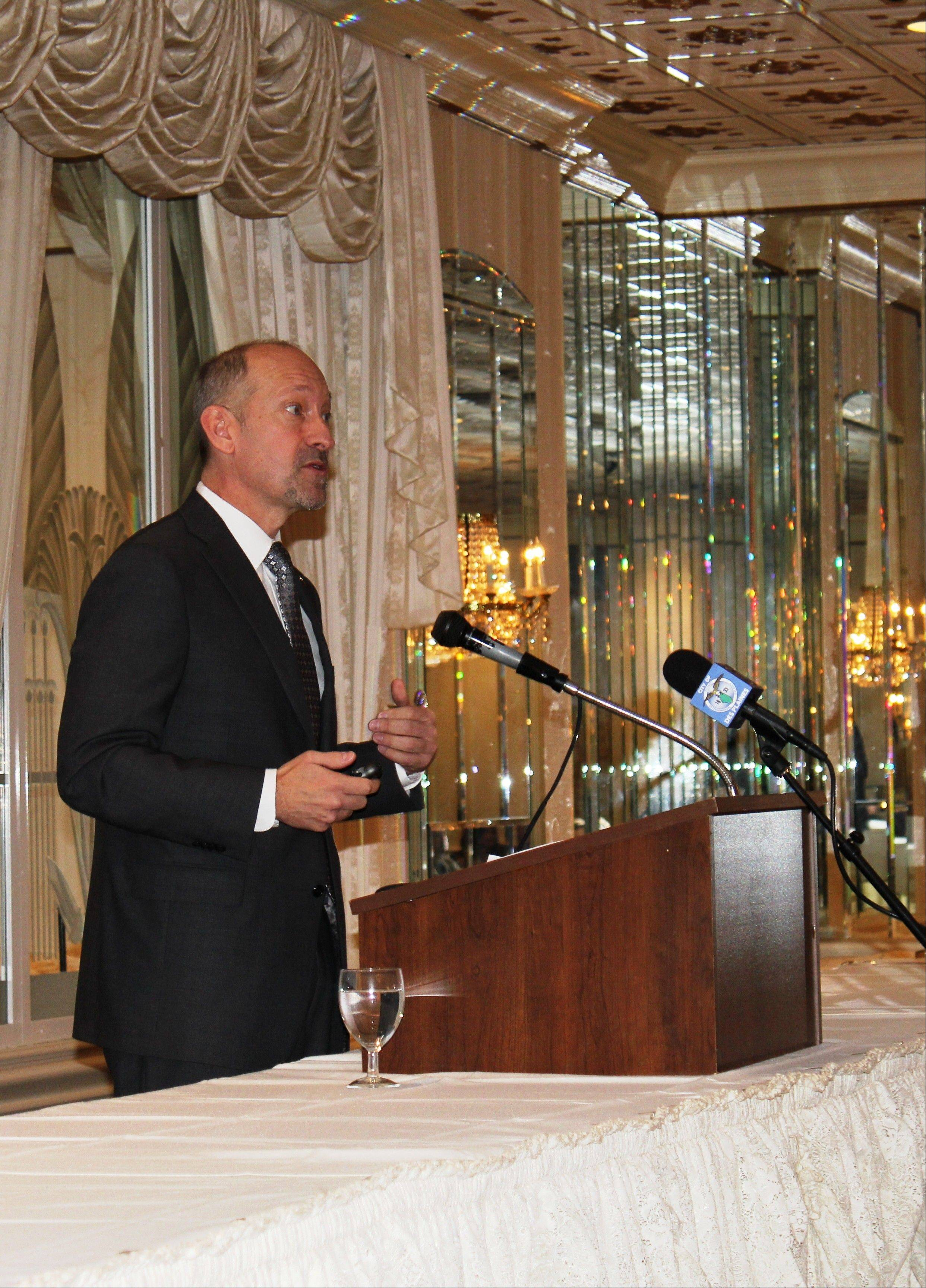 "Des Plaines City Manager Mike Bartholomew talks about the city's plans for 2013 Thursday during the ""State of the City"" address at the Des Plaines Chamber of Commerce and Industry annual breakfast."