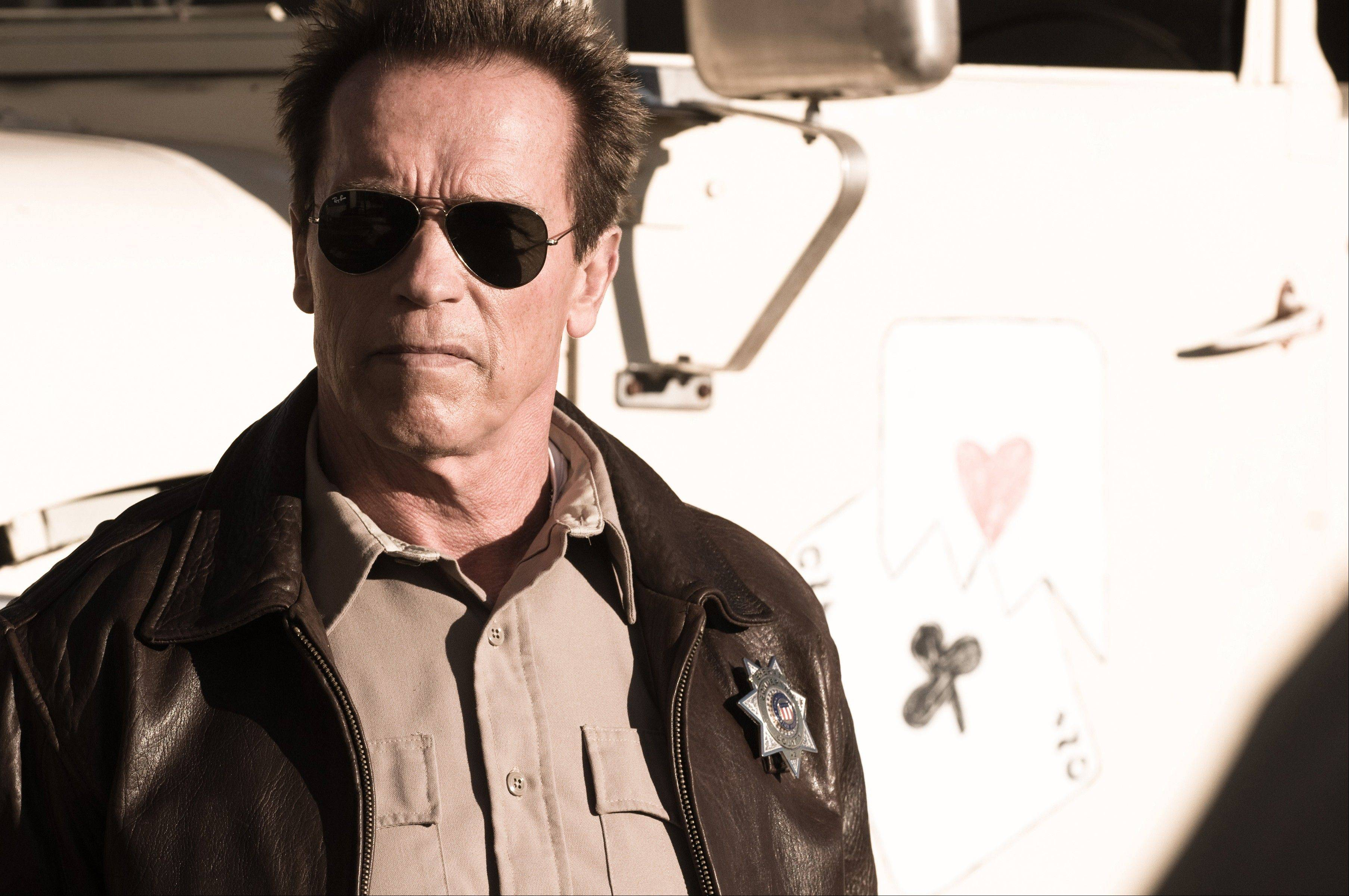 "Arnold Schwarzenegger in a scene from his newest movie, ""The Last Stand."""