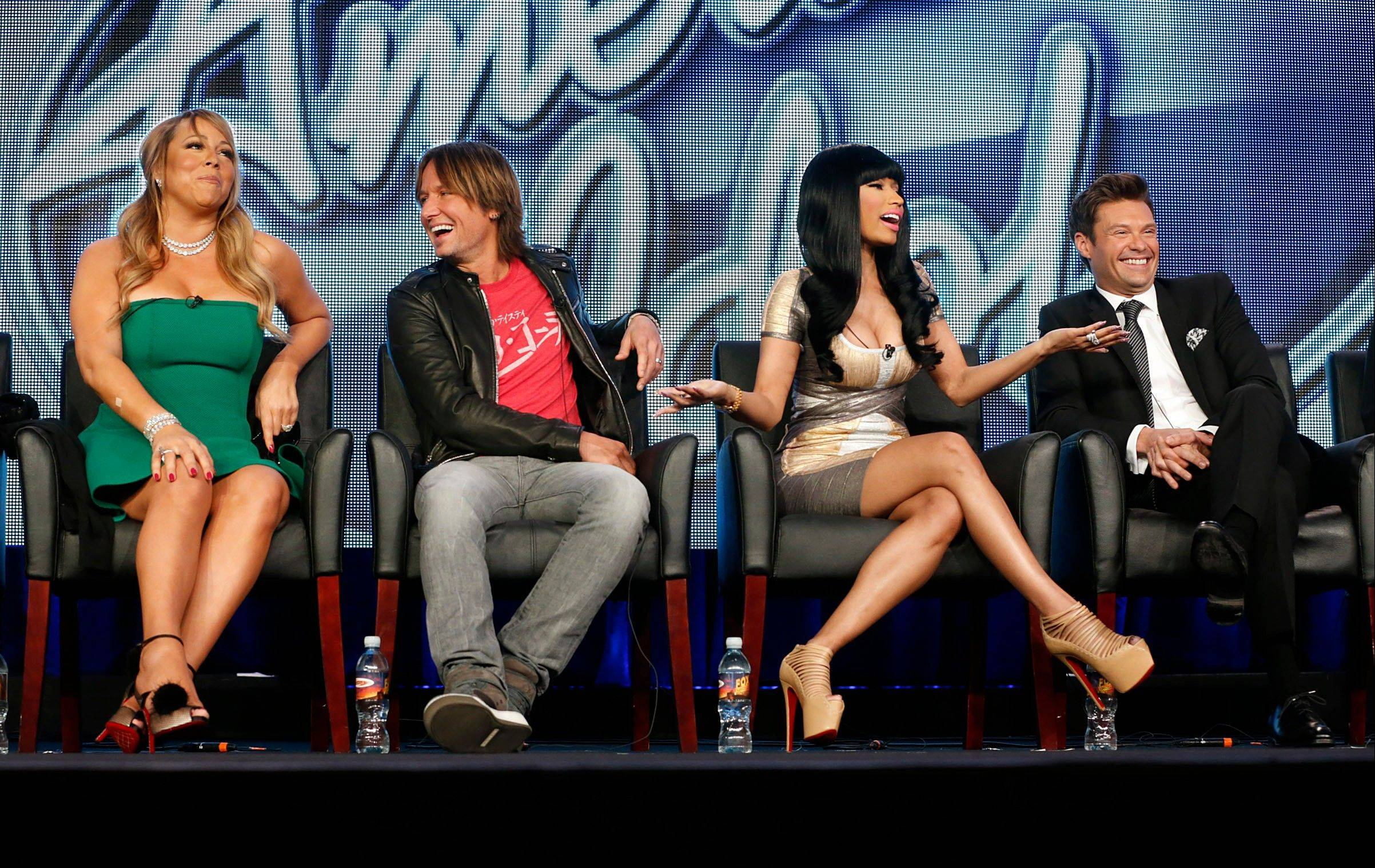 """I feel like we jell well in a weird, crazy way,"" Nicki Minaj declared optimistically of the panel -- Mariah Carey, left, Keith Urban, Minaj and host Ryan Seacrest -- near the conclusion of the first episode of this season of Fox's ""American Idol"" Wednesday."