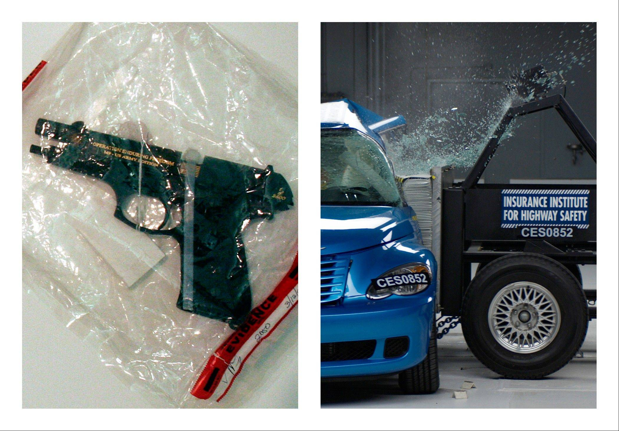This combination of 2005 and undated file photos shows one of Charles A. McCoy Jr.'s guns included in evidence during his 2005 murder trial in Columbus, Ohio, left, and a side crash test on a 2008 PT Cruiser by the Insurance Institute for Highway Safety. Nearly as many Americans die from guns as from car crashes each year.