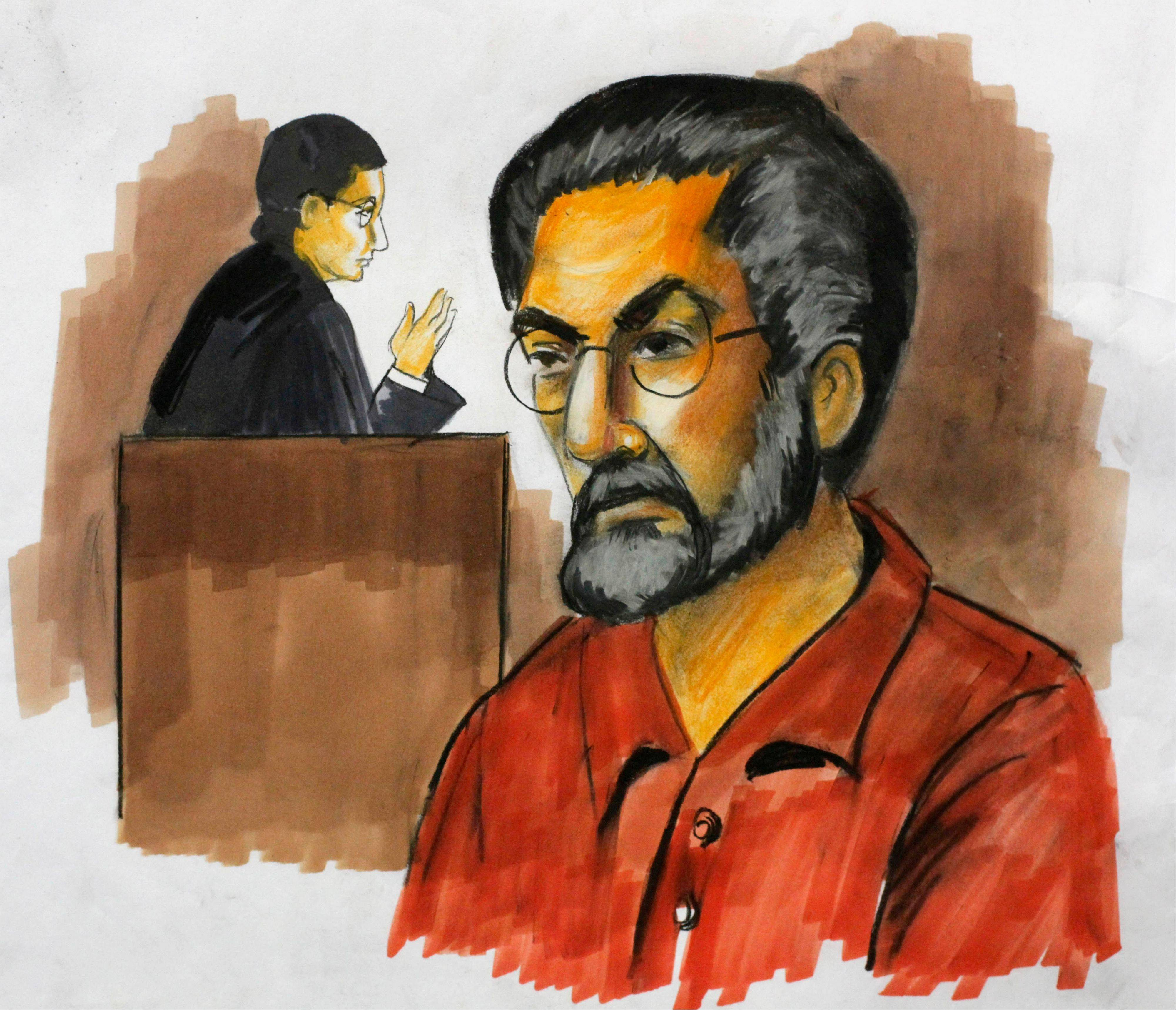 In this Dec. 2, 2009, courtroom sketch, Tahawwur Hussain Rana appears before federal Magistrate Judge Nan Nolan in Chicago. Rana was convicted in 2011 of providing material support to overseas terrorism, including a Pakistani group whose 2008 attacks in Mumbai, India, left more than 160 people dead.