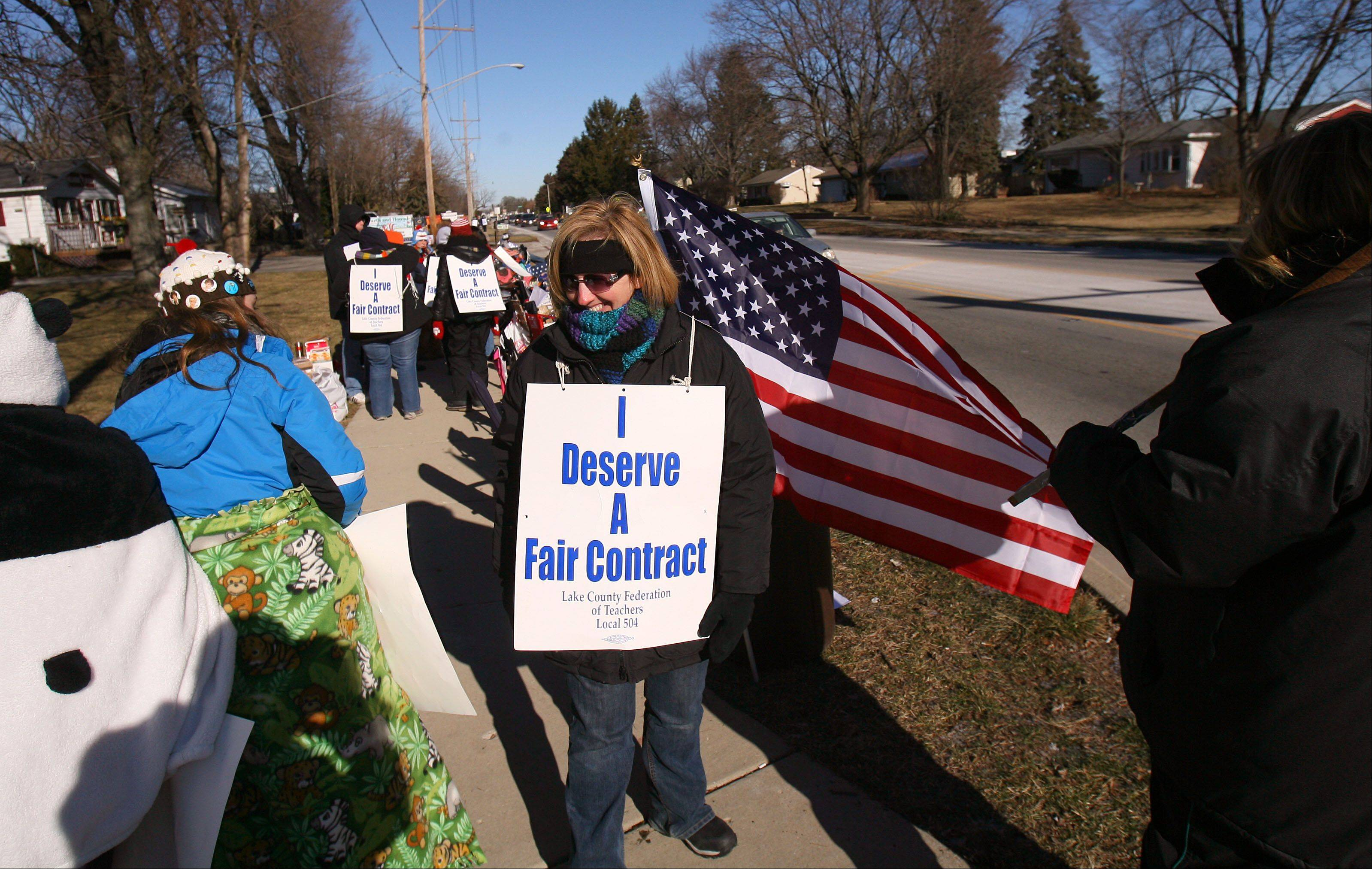 Grayslake Elementary District 46 teachers picket on Route 83 in front of Grayslake Middle School during day two of their strike Thursday morning.