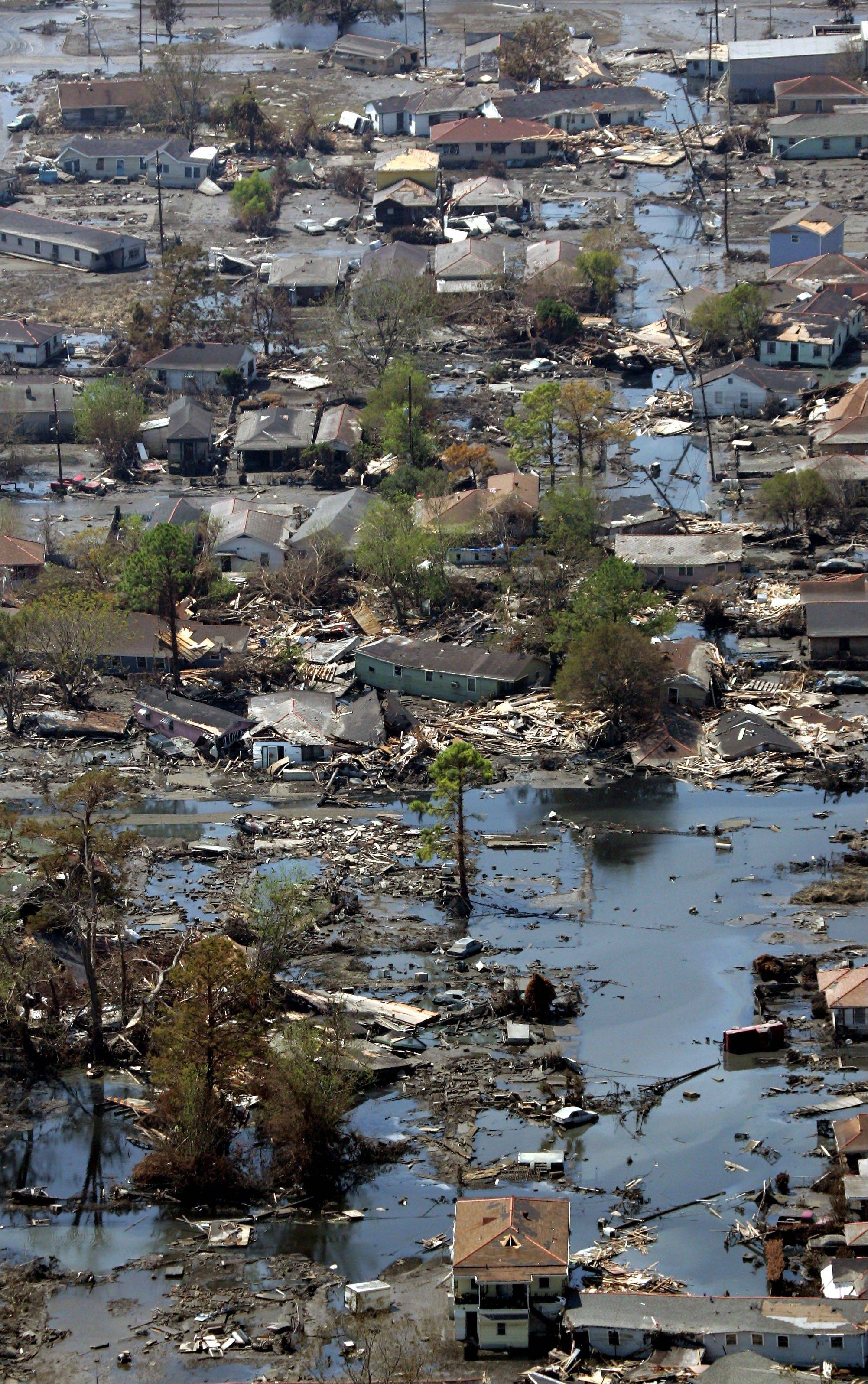 A neighborhood destroyed by Hurricane Katrina in New Orleans. Inspectors taking the first-ever inventory of flood control systems overseen by the federal government have found hundreds of structures at risk of failing and endangering people and property in 35 states.