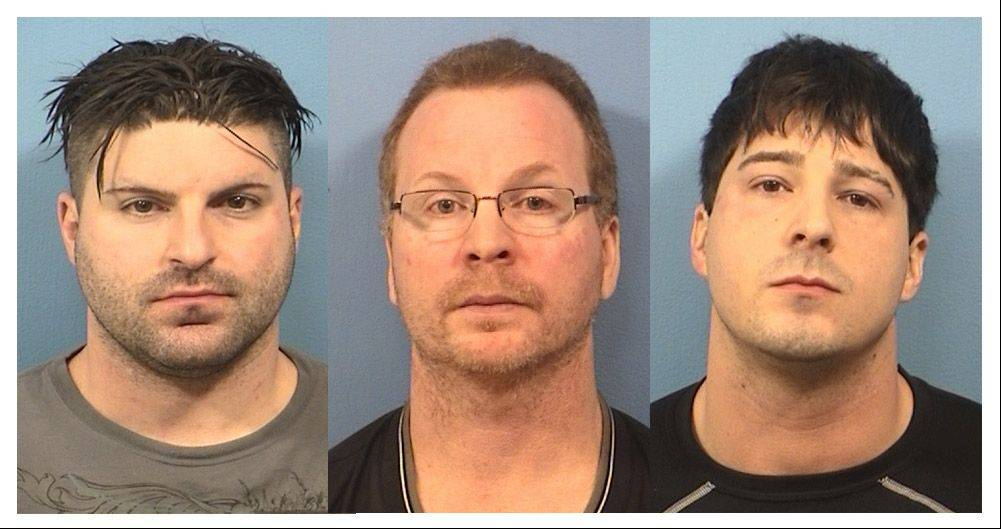 The three Schaumburg police officers facing drug and other felony charges are, left to right, Matthew Hudak, Terrance O'Brien and John Cichy.