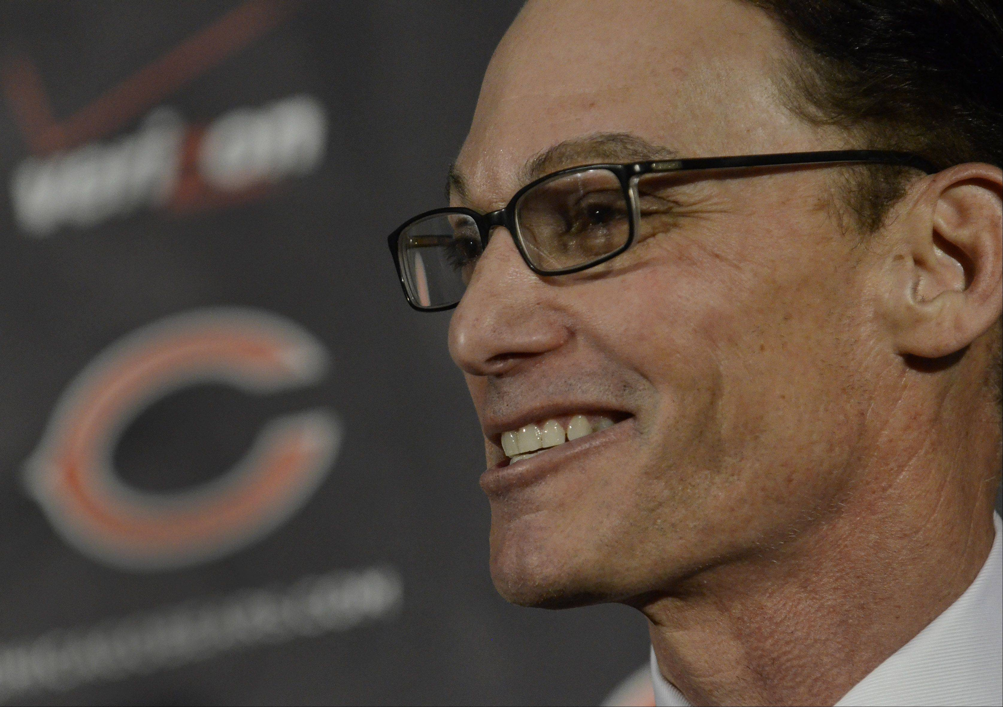 Marc Trestman, 14th head coach of the Chicago Bears, addresses the media.