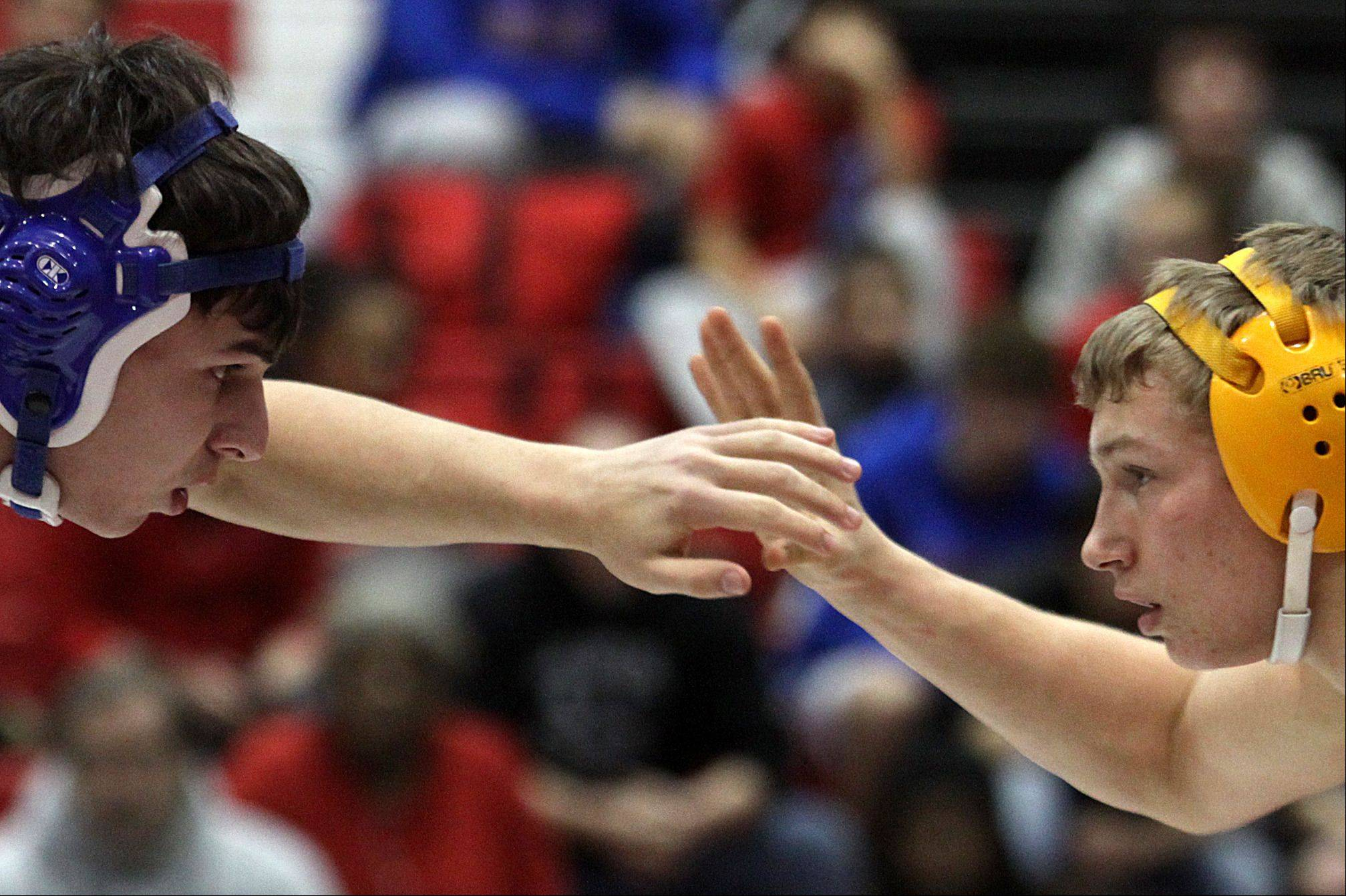 Jacobs' David Haire, right, and Dundee-Crown's Claud Bird look to strike during their 152-pound match at Carpentersville on Thursday night.