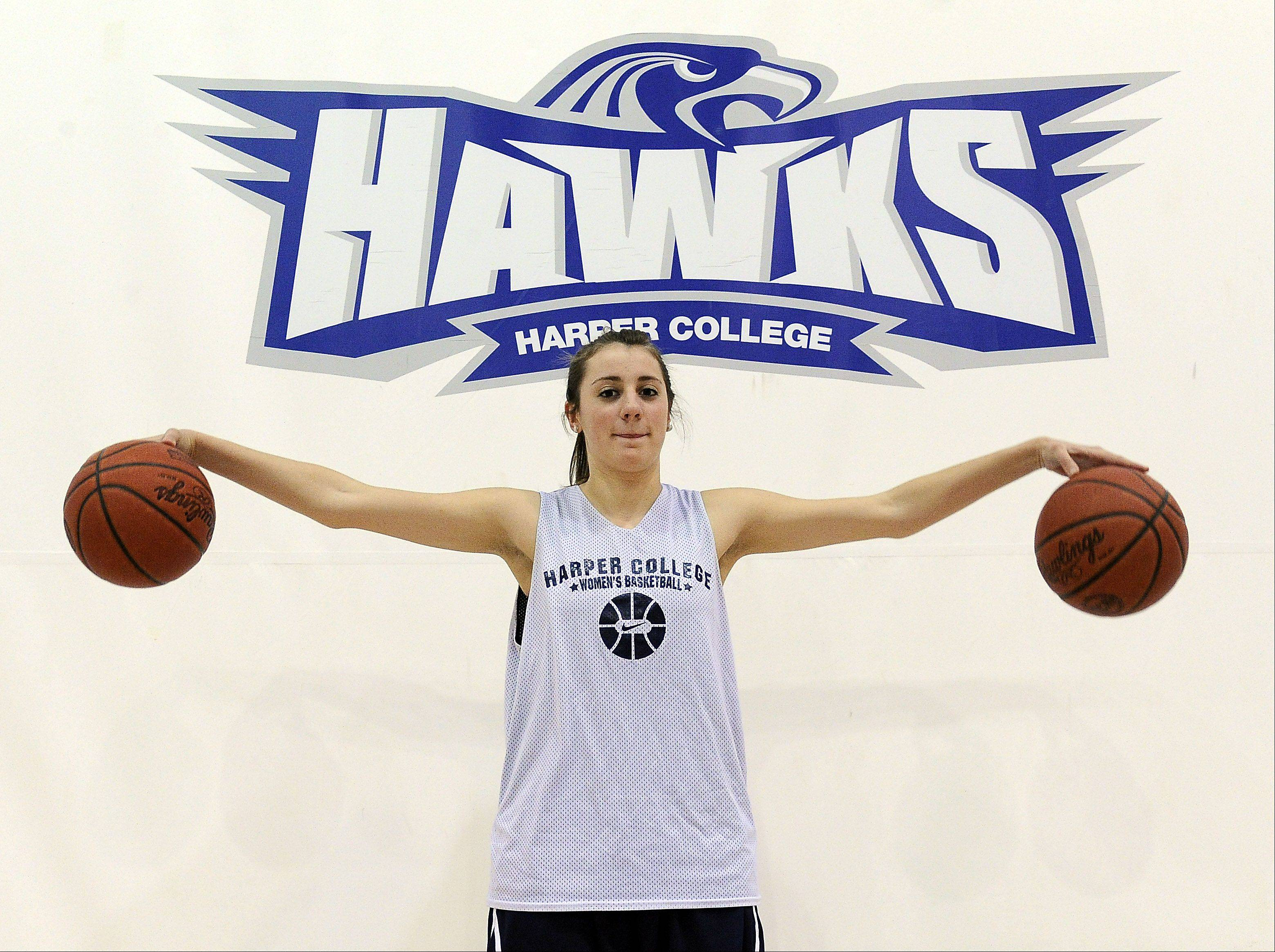 Freshman Monica Hinderer is having a big positive impact on the Harper womens' soccer and basketball programs.