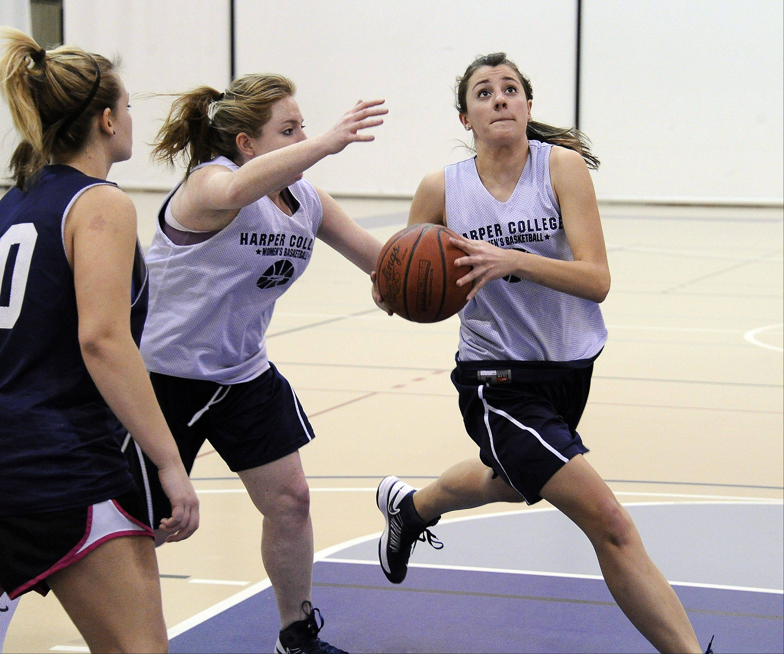 Monica Hinderer, averaging 22.2 points and 12.3 rebounds this season, continues to refine her skills in hopes of an eventual trip to the NJCAA national tournament.