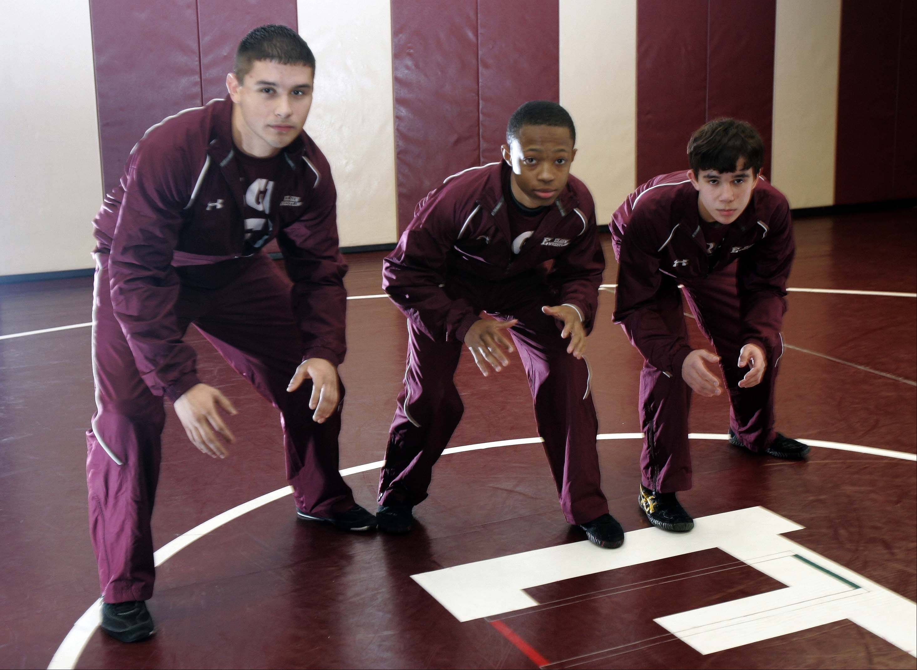 Elgin wrestlers Richie Santana, from left, Jeff Morrow and Zack McCullough have a combined record of 70-5 for the Maroons this season.