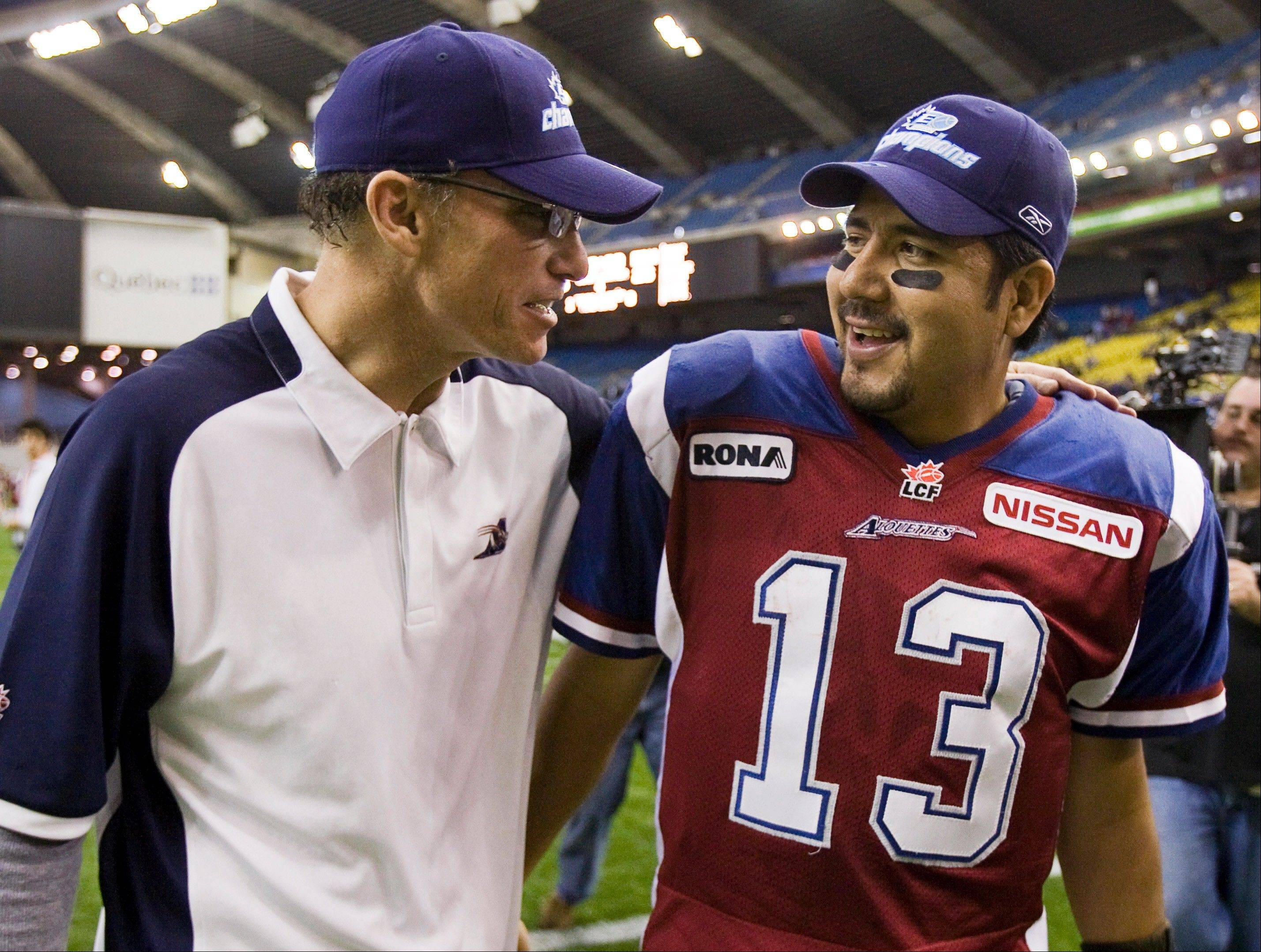 In five seasons with the Montreal Alouettes of the Canadian Football League, Trestman's teams went 59-31 during the regular season and won two Grey Cups. QB Anthony Calvillo, right, was named the top CFL player in back-to-back seasons.
