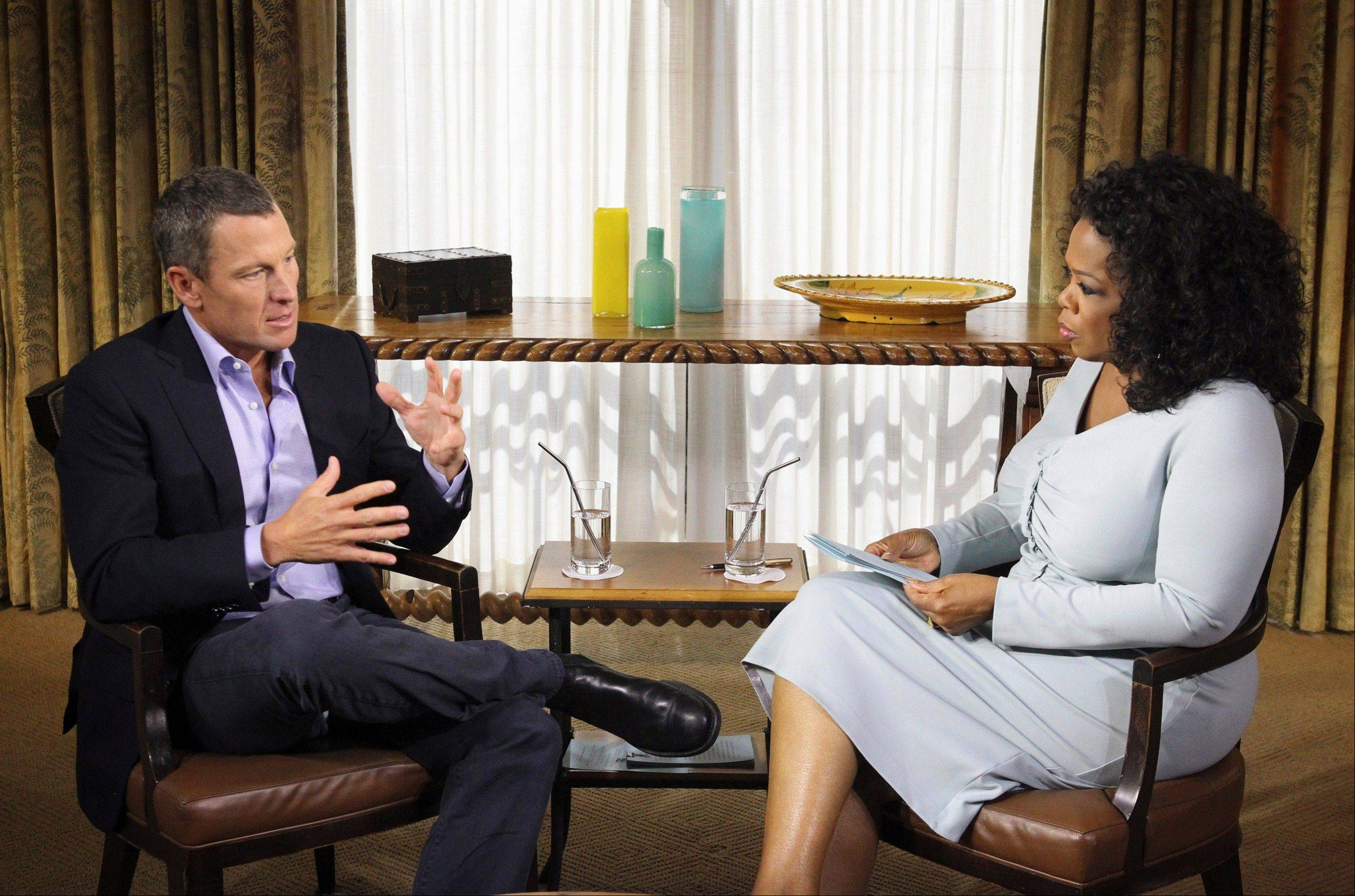 "Talk show host Oprah Winfrey interviews Lance Armstrong during taping for the show ""Oprah and Lance Armstrong: The Worldwide Exclusive"" in Austin, Texas. Armstrong confessed to using performance-enhancing drugs to win the Tour de France cycling during the interview that aired Thursday, reversing more than a decade of denial."