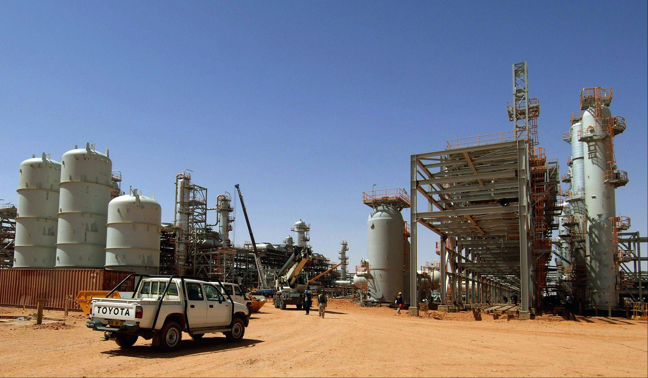 This 2005 file photo shows the Ain Amenas gas field in Algeria, where Islamist militants raided and took hostages Wednesday Jan. 16, 2013. British Prime Minister David Cameron said Algerian forces are �still pursuing terrorists� and looking for hostages at an oil installation in the Sahara desert. Cameron told lawmakers Friday Jan. 18, 2013 that Algerian troops were still engaged in an operation to secure a large and complex site.