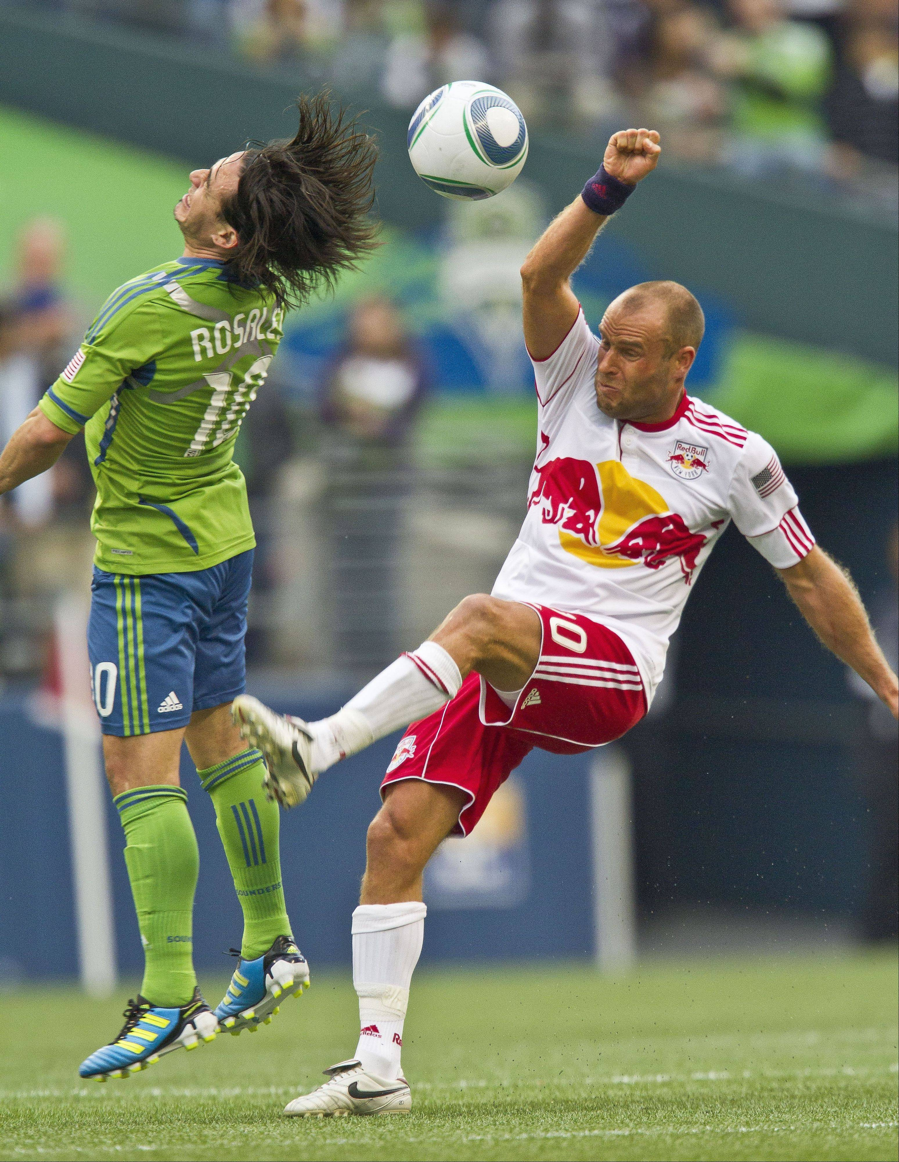 Joel Lindpere, right, shown playing for the New York Red Bulls, has joined the Chicago Fire this season.