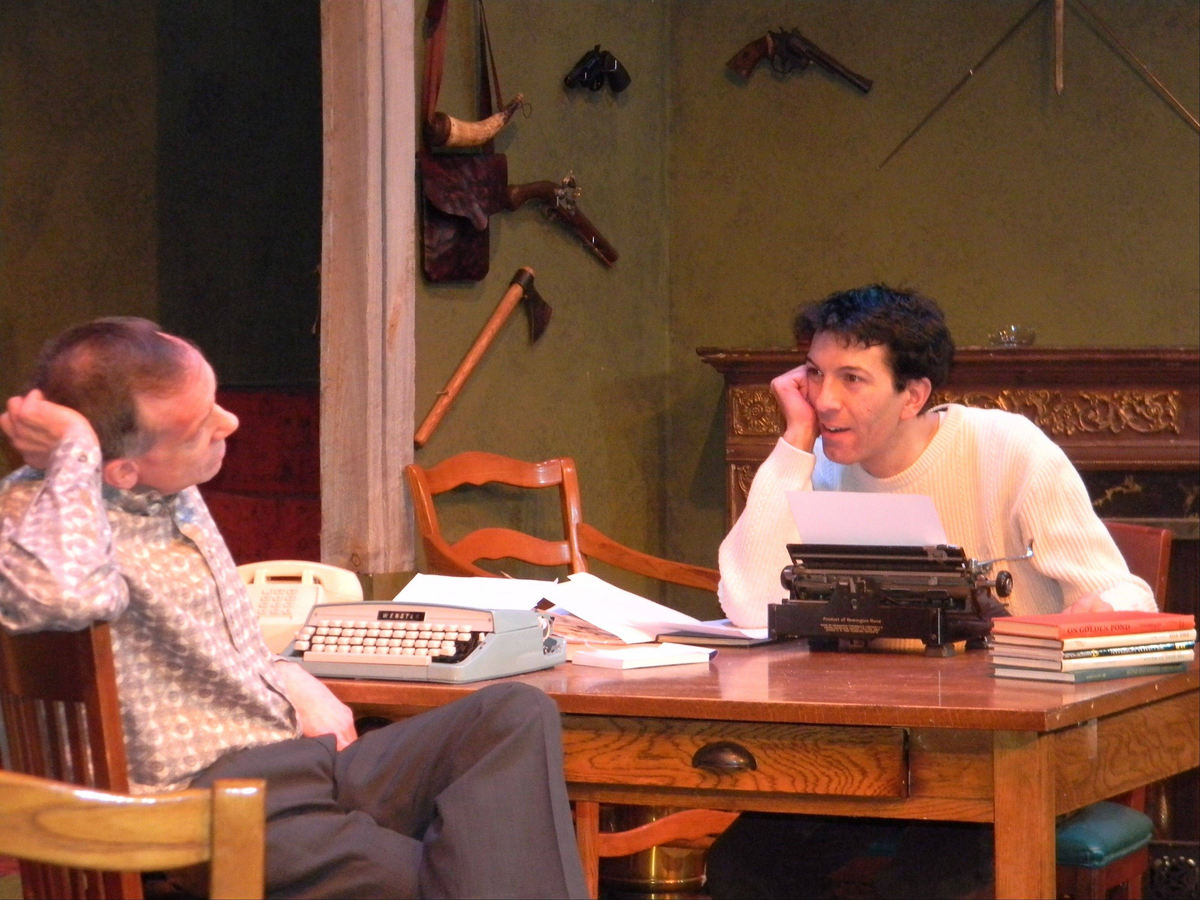 "Aspiring playwright Clifford (James Dauphin, right) collaborates and conspires with his mentor Sidney (Daniel Scurek) in Steel Beam Theatre's revival of Ira Levin's thriller ""Deathtrap."""
