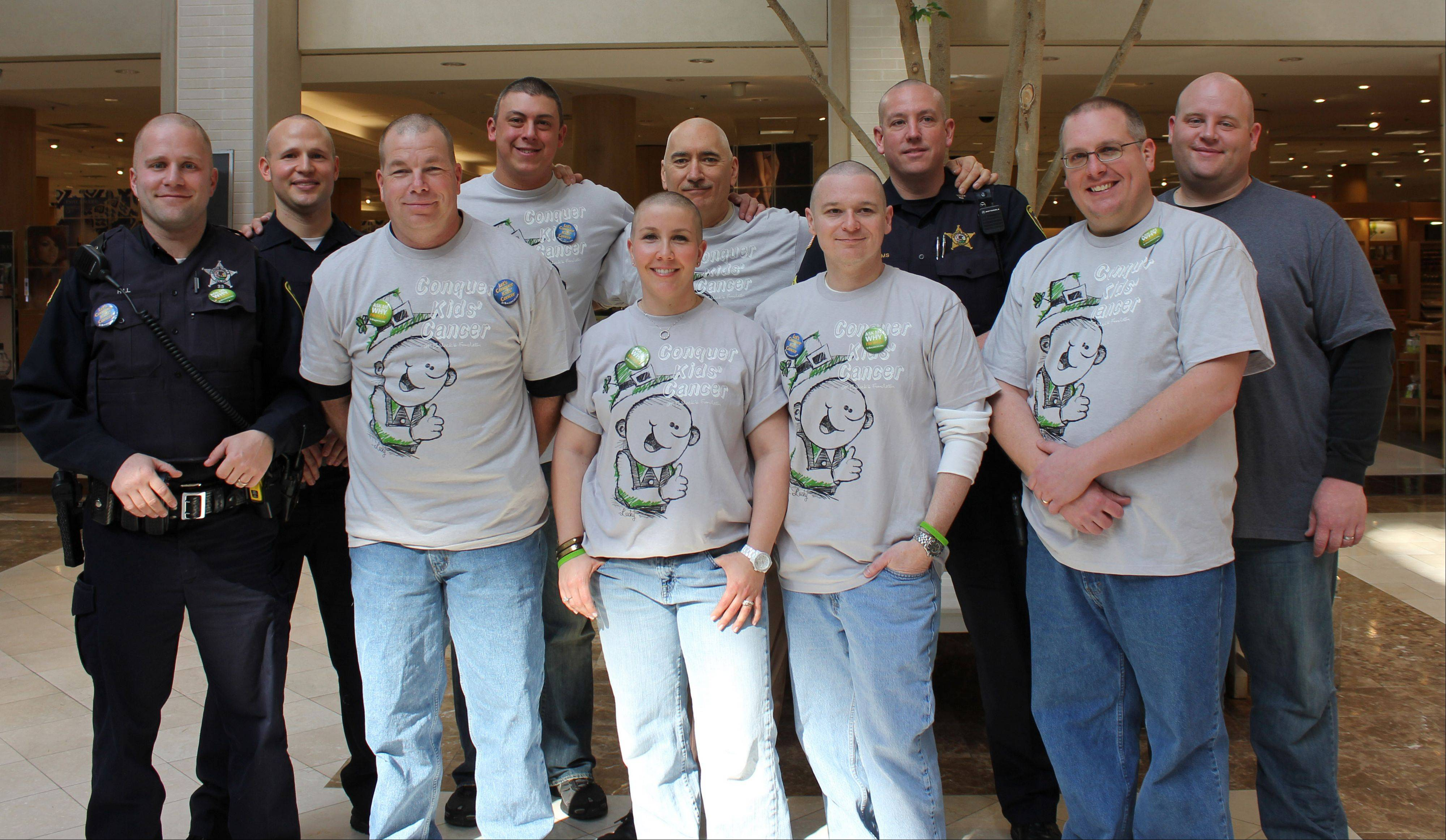 Vernon Hills police department participants in the 2012 St. Baldrick's event from left were: Officer Dan Hill, Officer Jim Koch, Officer Ward Feger, Officer Dan Mead, Officer Rebecca Foy, Commander Jack Rabey, Investigator Ken Berryhill, Sergeant (now Commander) Todd Williams, Officer Jim Brocks, Investigator Andy Rheintgen.