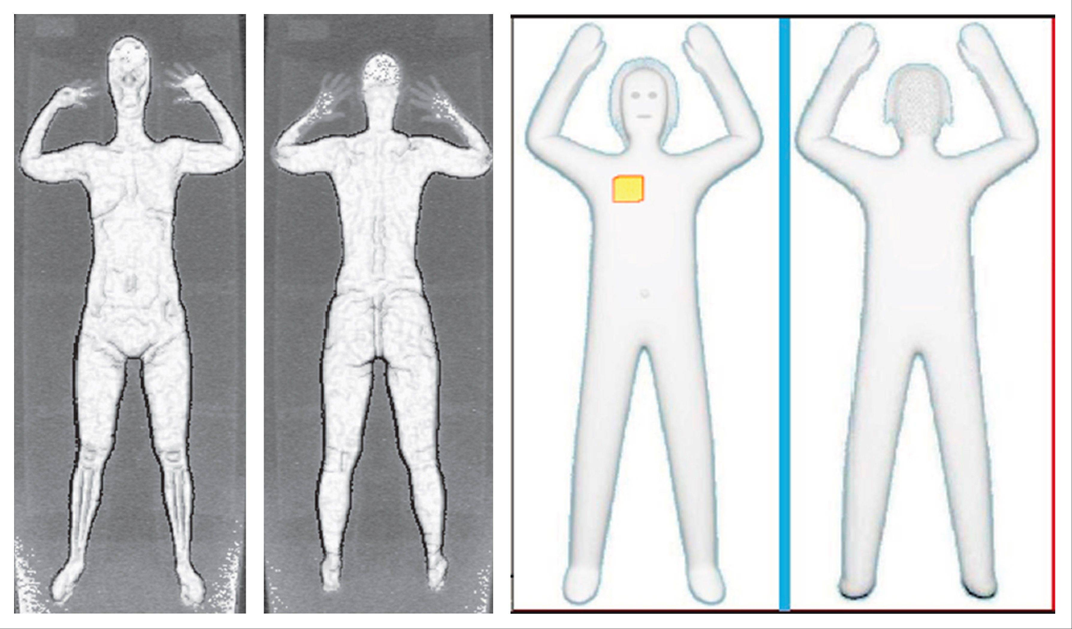 These two sets of images provided by the Transportation Security Administration are samples that show details of what TSA officers see on computer monitors when passengers pass through airport body scanners. At left are two images using backscatter advanced image X-ray technology from the huge scanners that were introduced in 2010 at O'Hare International Airport. At right are images from new scanners using new millimeter wave technology that produces a cartoon-like outline rather than naked images of passengers produced by using X-rays.