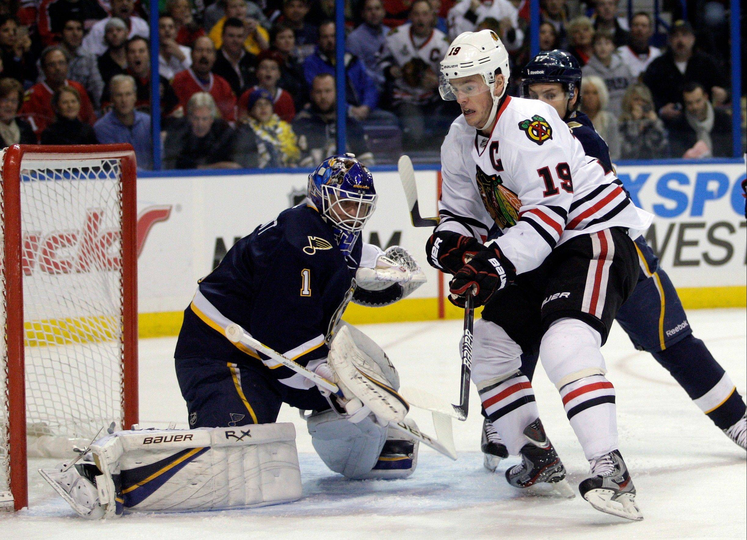 The Blackhawks and captain Jonathan Toews will have their hands full during the lockout-shortened season trying to keep up with goalie Brian Elliott and the defending Central Division champion St. Louis Blues.