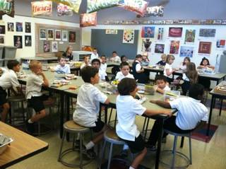 Saint Alphonsus Liguori Catholic School students participate in art class at the nationally recognized Blue Ribbon School.