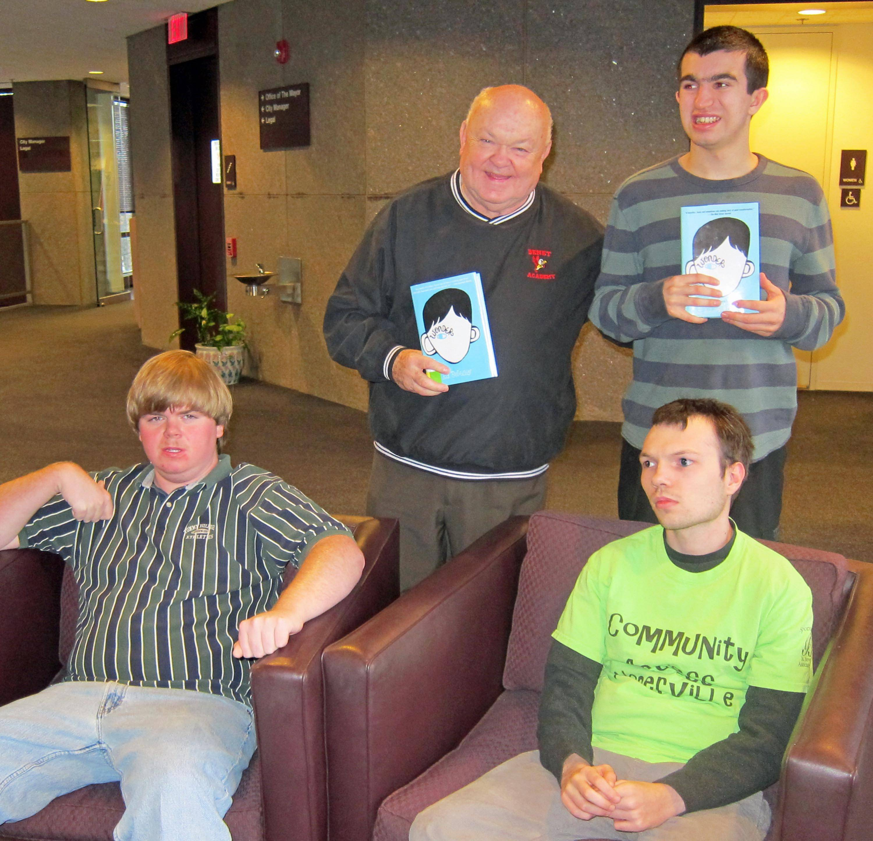 "Patrick Edwards, Ryan Wall and Quentin Palluau, members of CAN (Community Access Naperville) recently visited with Mayor George Pradel about the Naperville READS book, ""Wonder."" CAN works to integrate differently-abled adults into our community and the Naperville READS book is about trying to fit in when you stand out."