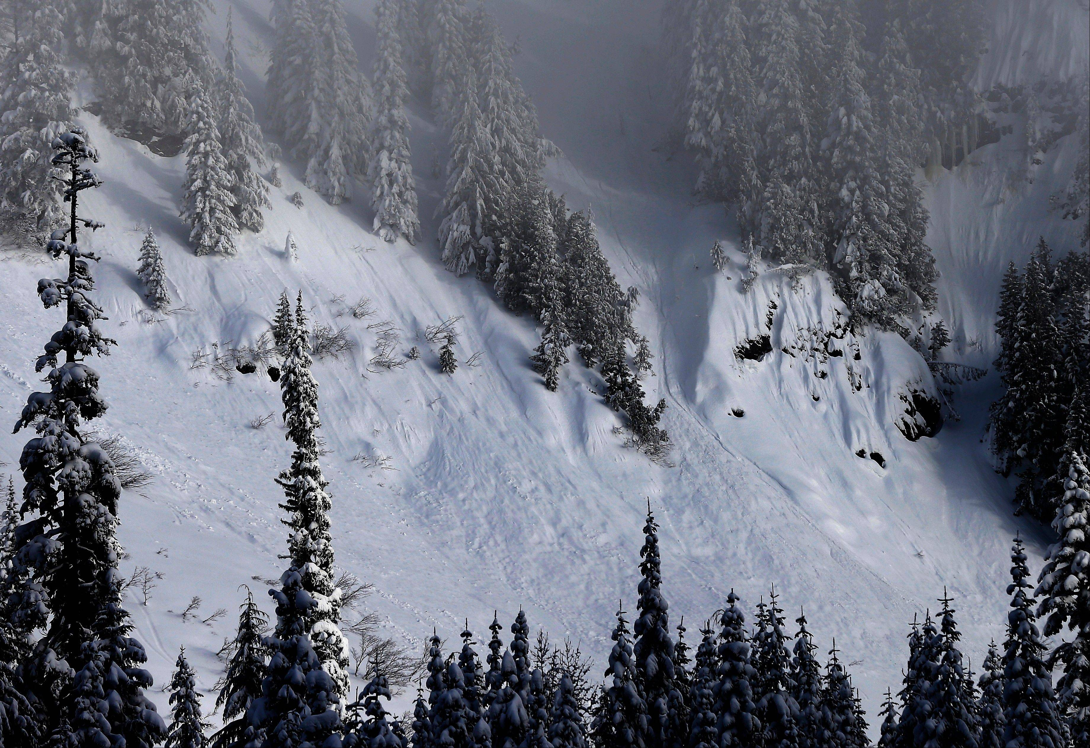 Snow slides down a mountain near a ski area at Snoqualmie Pass in Washington state. Snow training courses now incorporate a focus on human factors such as how to make better decisions, manage group dynamics and speak up should danger arise.