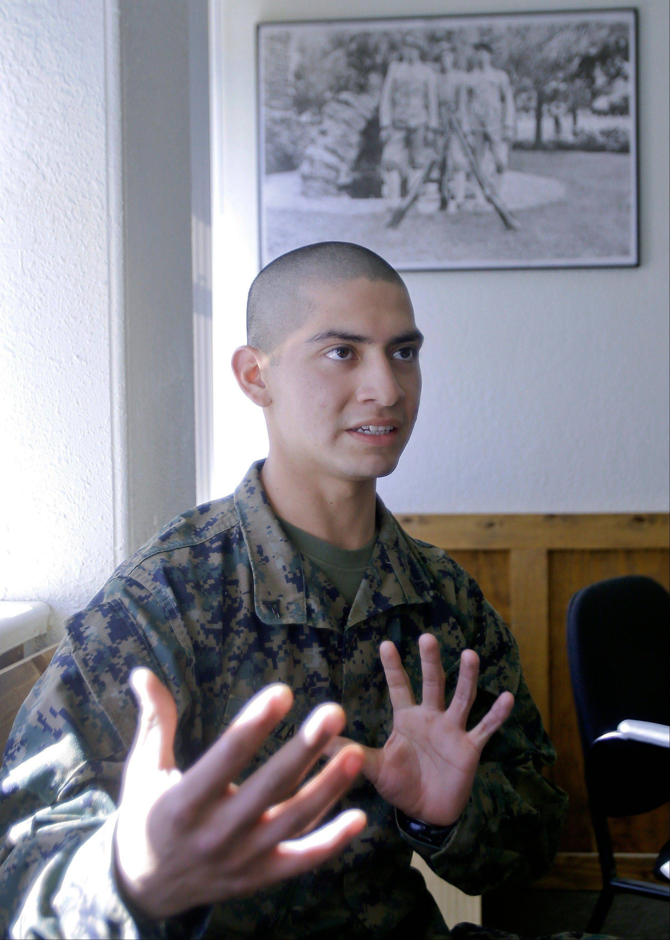 Marine Lance Corporal Carlos Lazano talks about a special training he underwent in which Marines were taught methods to �quiet the mind� and to reach an inner calm as a means to battle stress.