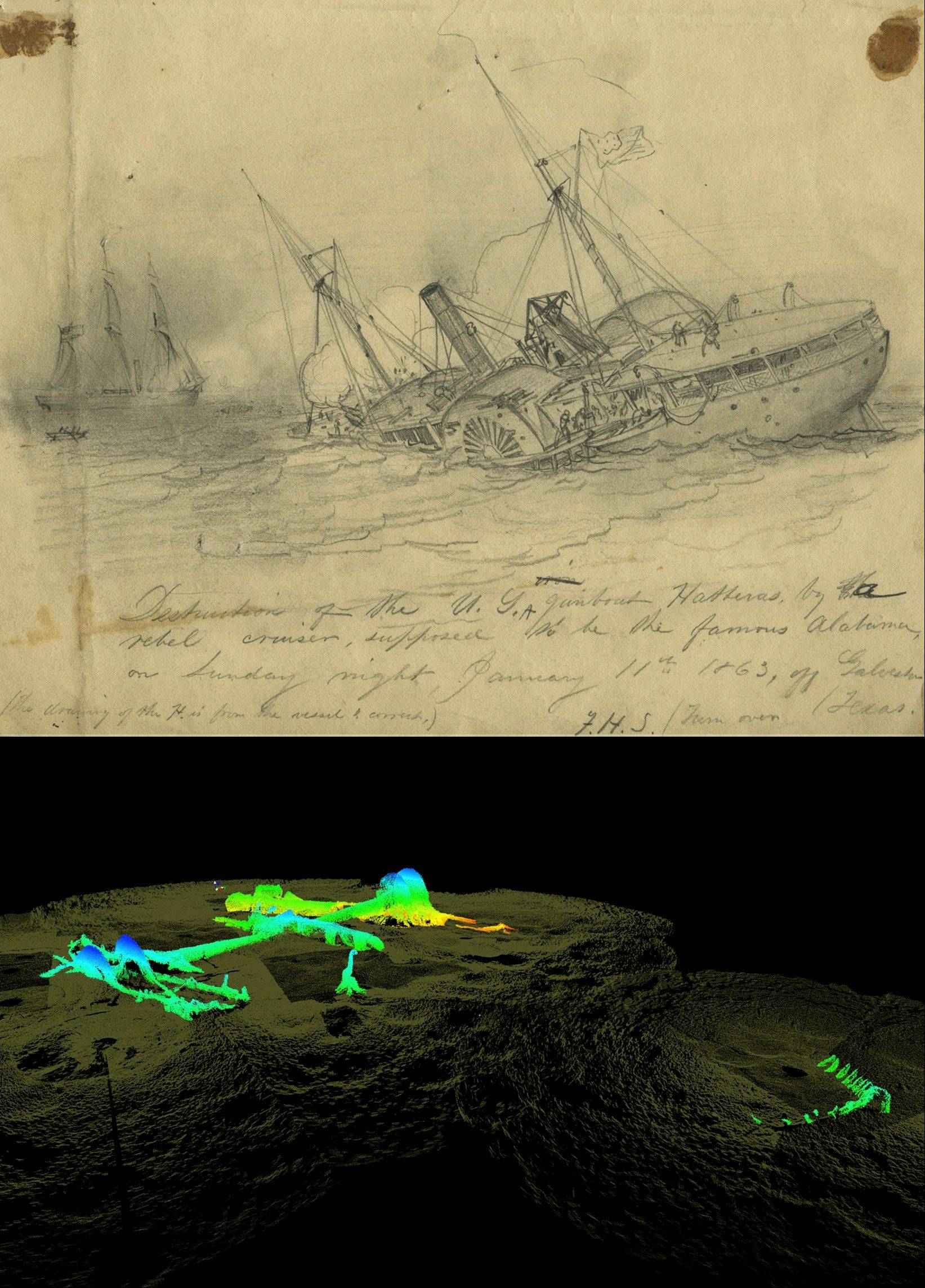 Above is the USS Hatteras as it fought and sank in 1863, depicted in a drawing by Civil War artist Francis H. Schell. Below it, a 2012 high-resolution 3-D sonar image of the wreckage.