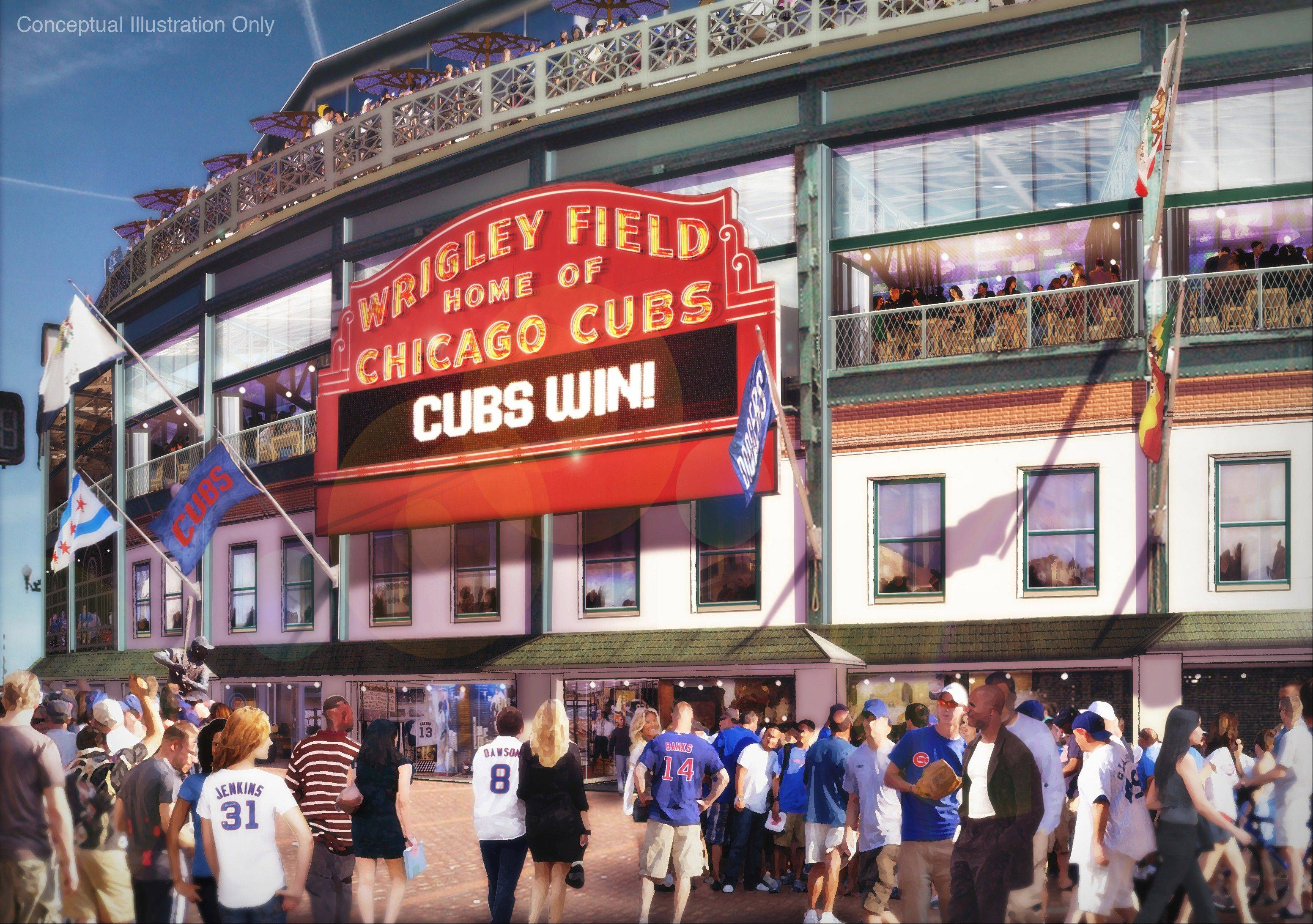 Images of the proposed renovation of Wrigley Field