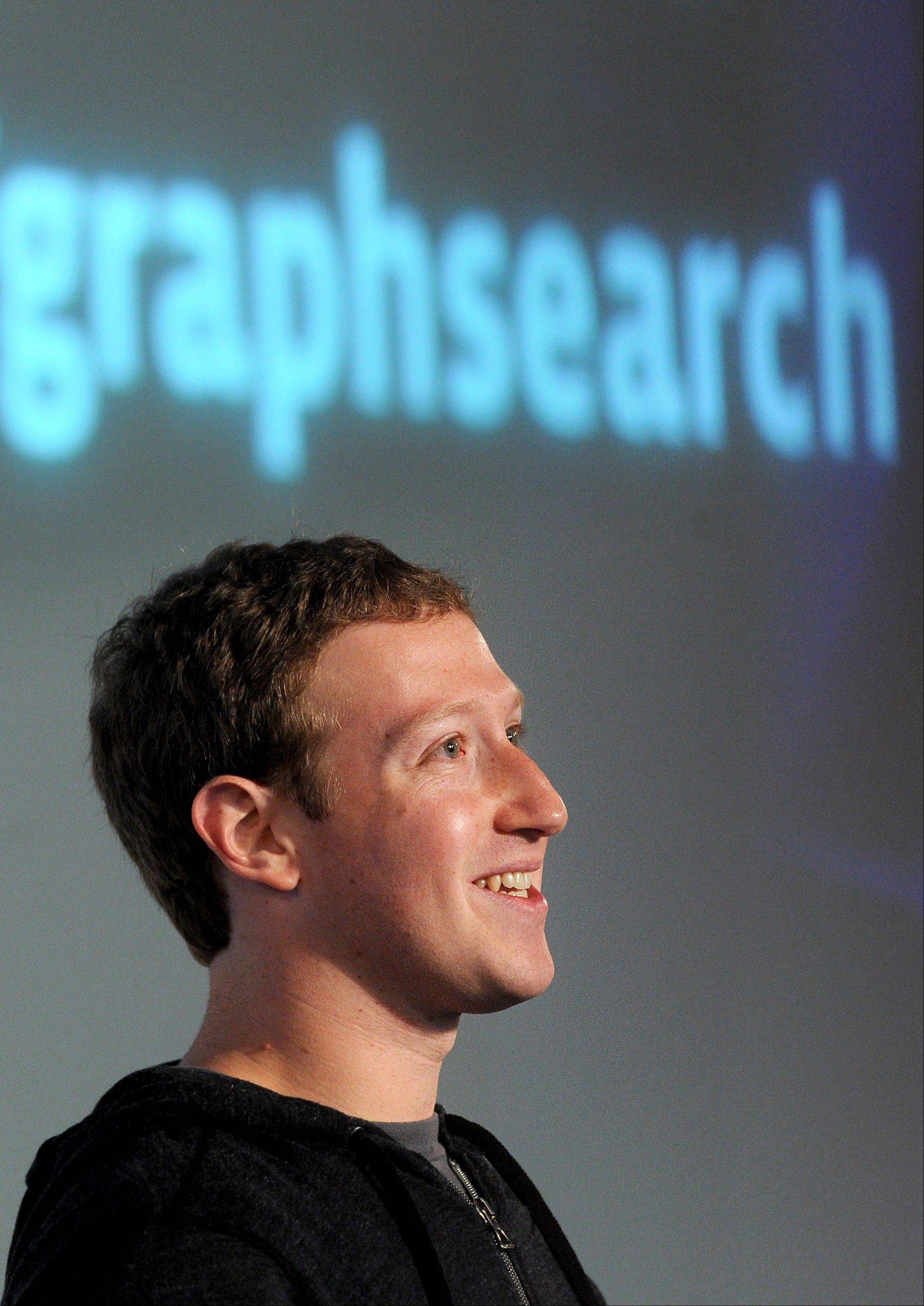 Mark Zuckerberg, chief executive officer and founder of Facebook Inc., introduces Graph Search at Facebook headquarters in Menlo Park, California, U.S., on Tuesday, Jan. 15, 2013. Facebook Inc. introduced a search tool for its social network of more than 1 billion users, seeking to improve features to attract more users and advertisers.