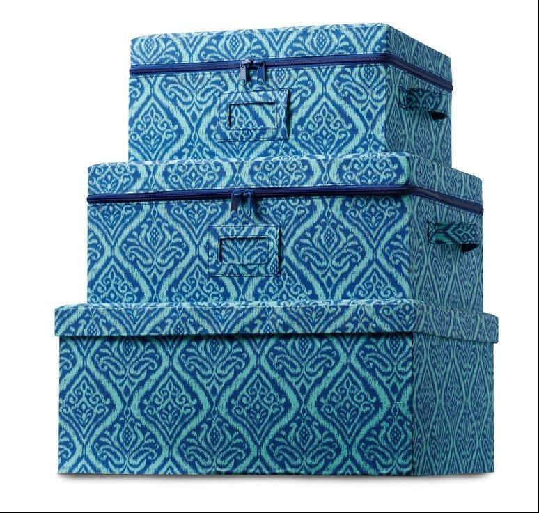 A set of storage boxes in a deep blue print would add blue accents to a room in a practical way.