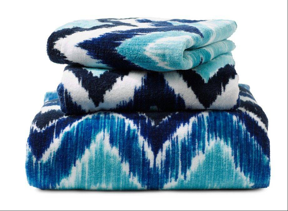 Towels in various shades of blue are a simple and inexpensive way to introduce blue into spring decor.
