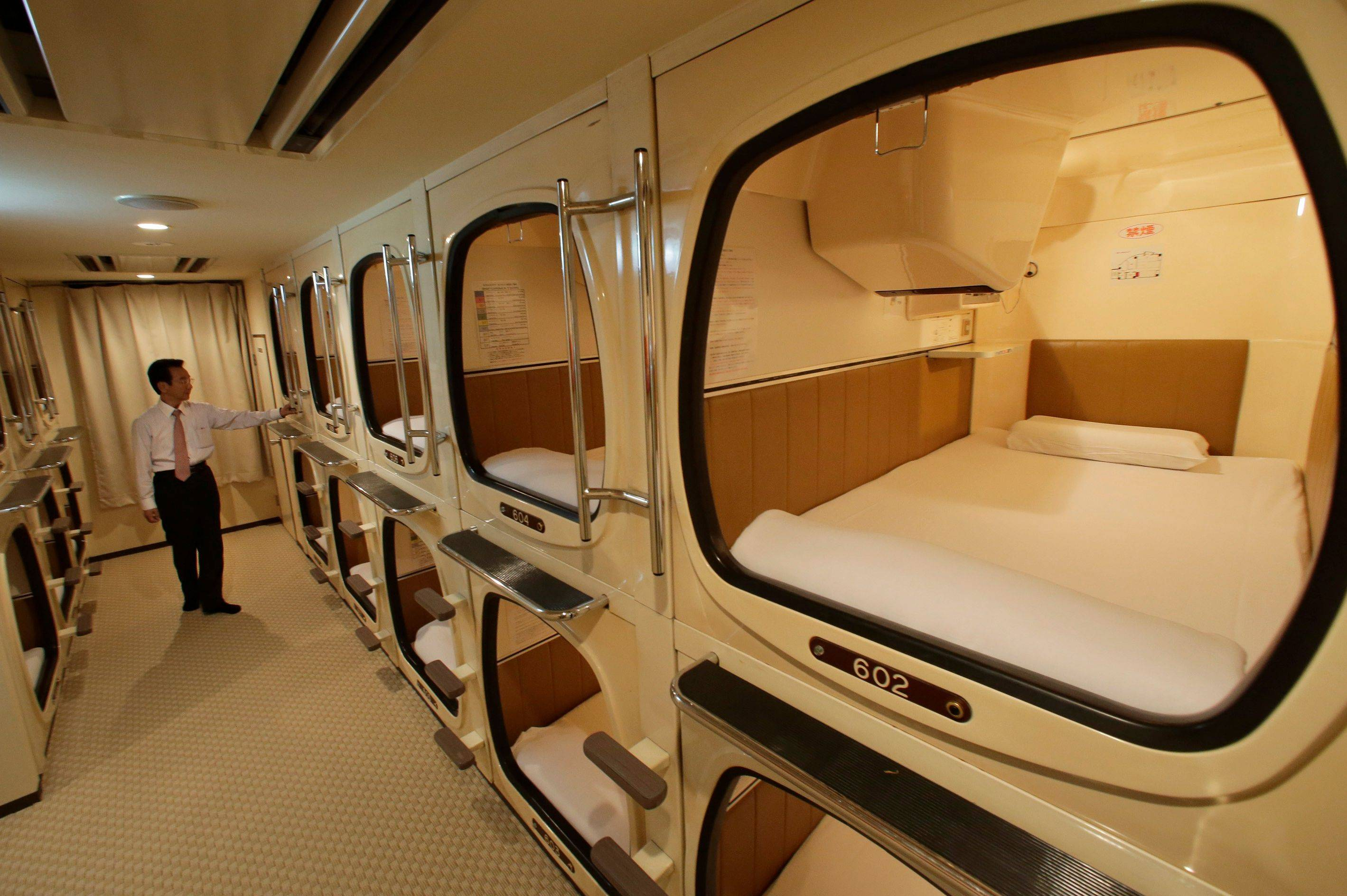 The capsule concept has been around for at least 30 years, starting out as lodging for businessmen working or partying late who missed the last train home and needed a cheap place to crash.