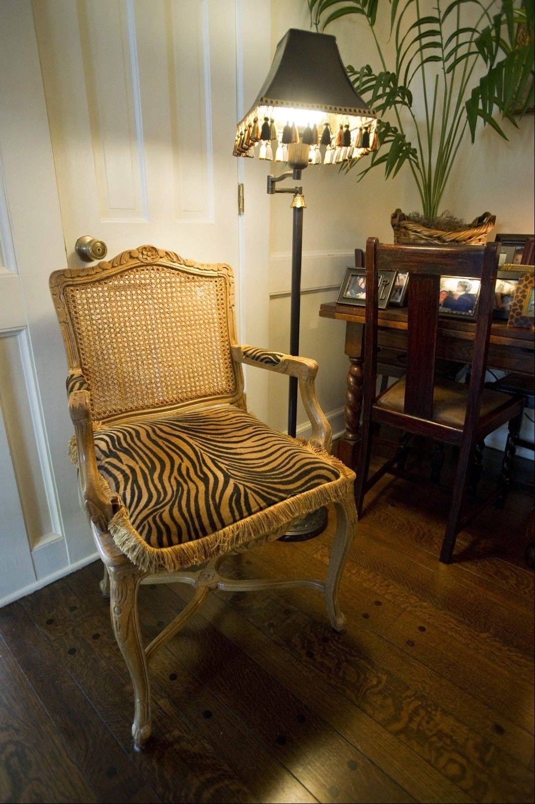 Kaye McWhorter applied animal print accents to this chair she found on the side of the road.