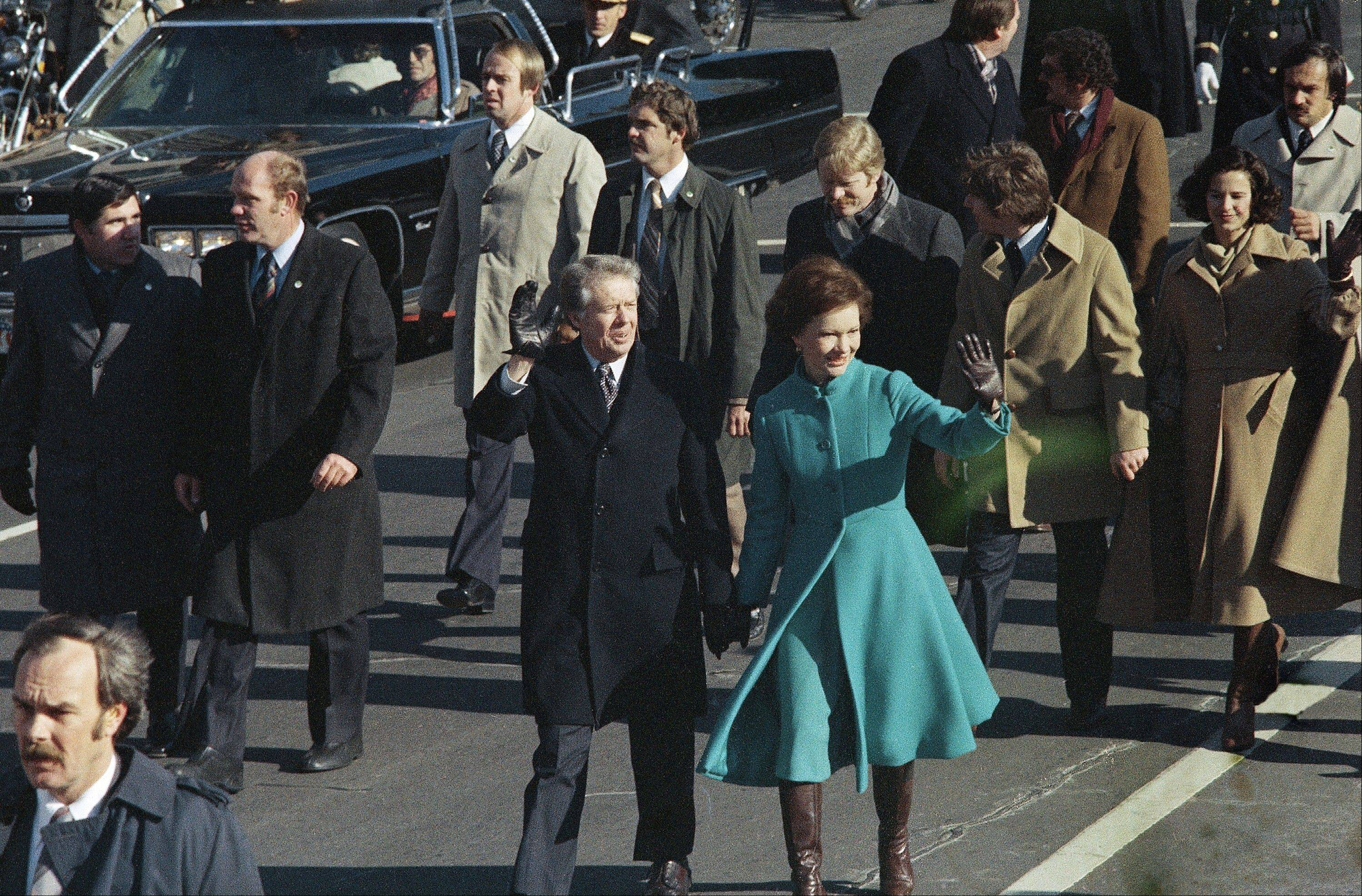 President Jimmy Carter and first lady Rosalynn Carter started the tradition of walking down Pennsylvania Avenue in Washington after being sworn in as president.