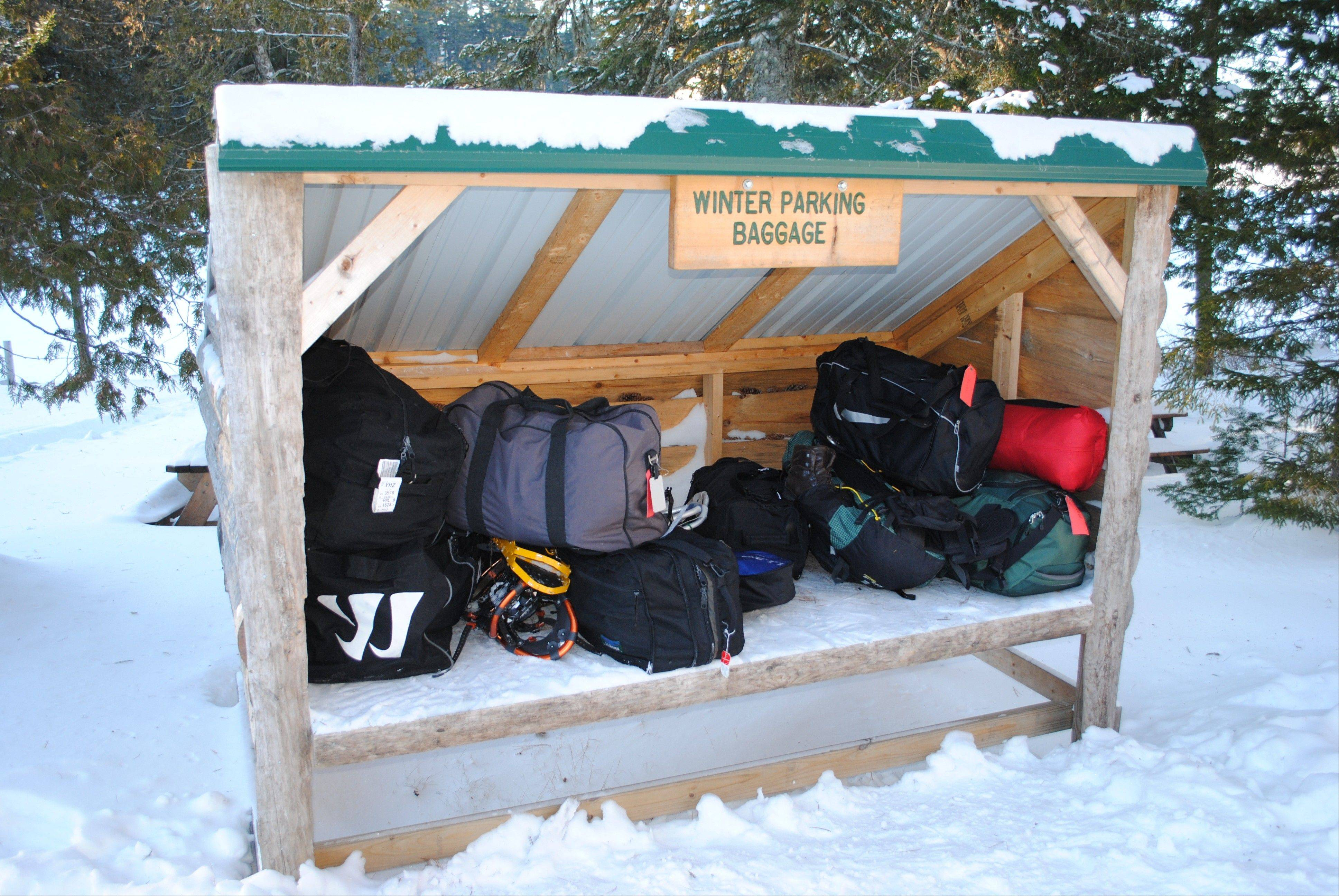 A small shed holds luggage left for pickup by guests at the Appalachian Mountain Club's Gorman Chairback Lodge, a backcountry wilderness lodge near Greenville, Maine.