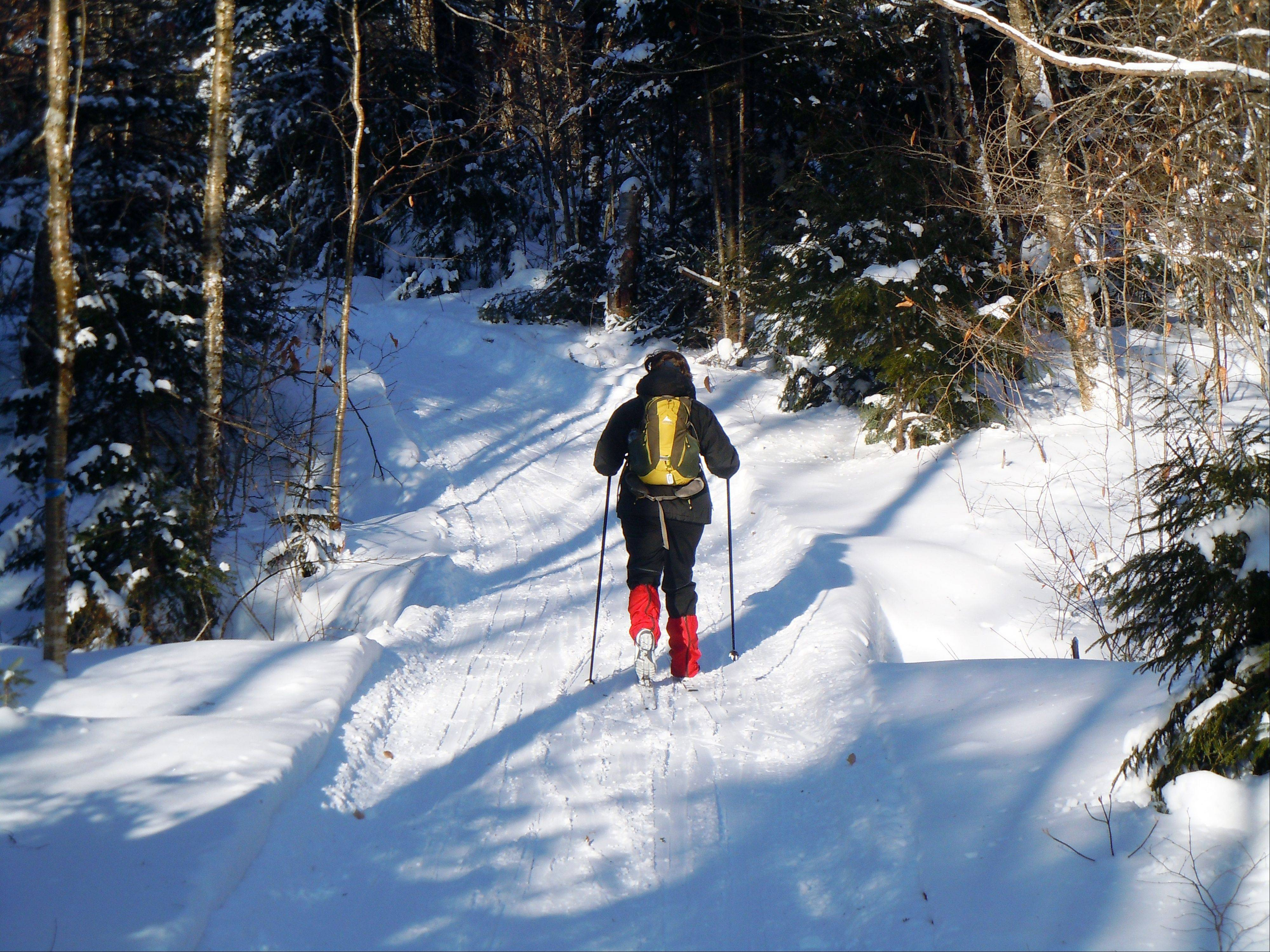 Donna Lawlor cross-country skis on the lodge to lodge trail between camps at the Appalachian Mountain Club's backcountry wilderness lodge near Greenville, Maine.