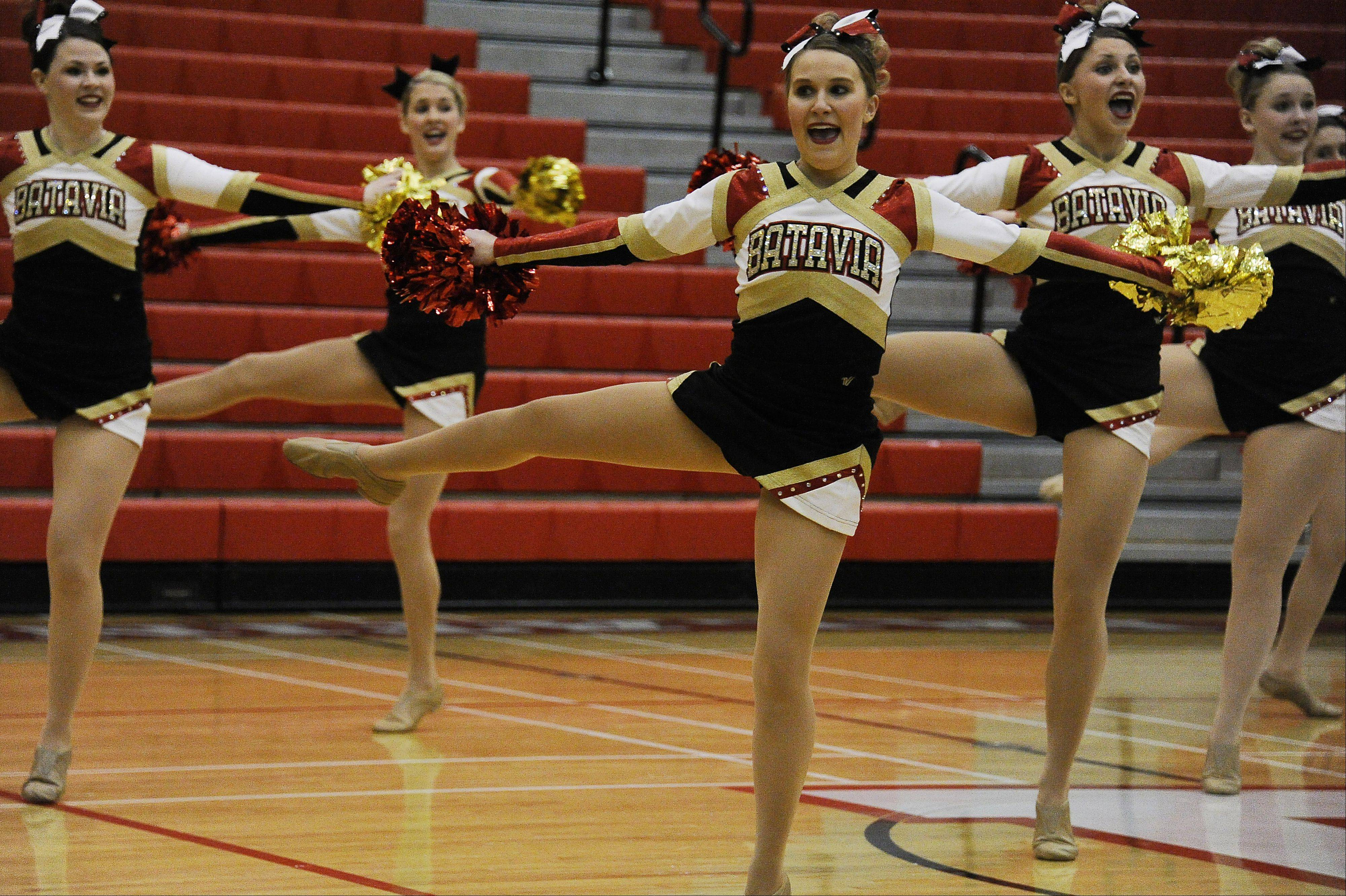 Dancing in the (2A) division are members of the Batavia High School dance squad with Abby Wilson in front in the 1st annual Sectional Competition at Palatine High School on Saturday.