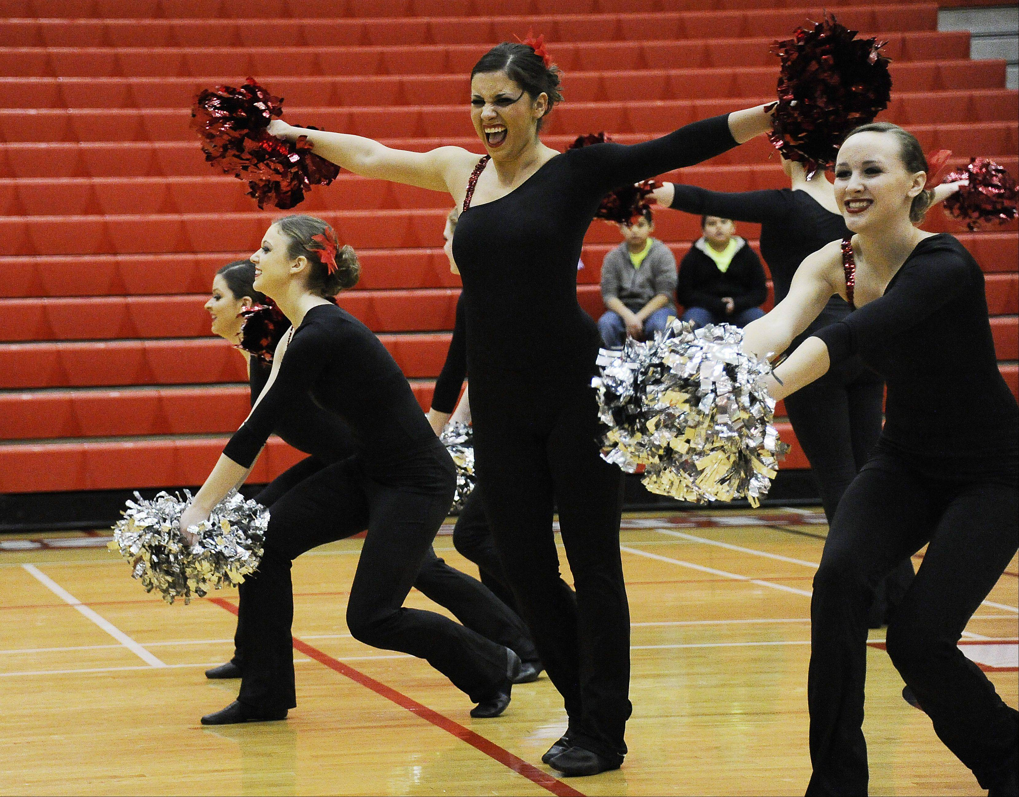 Dancing in the (2A) division are members of the Rolling Meadows High School dance squad with Kaltrina Ajroja leading the way in the 1st annual Sectional Competition at Palatine High School on Saturday.