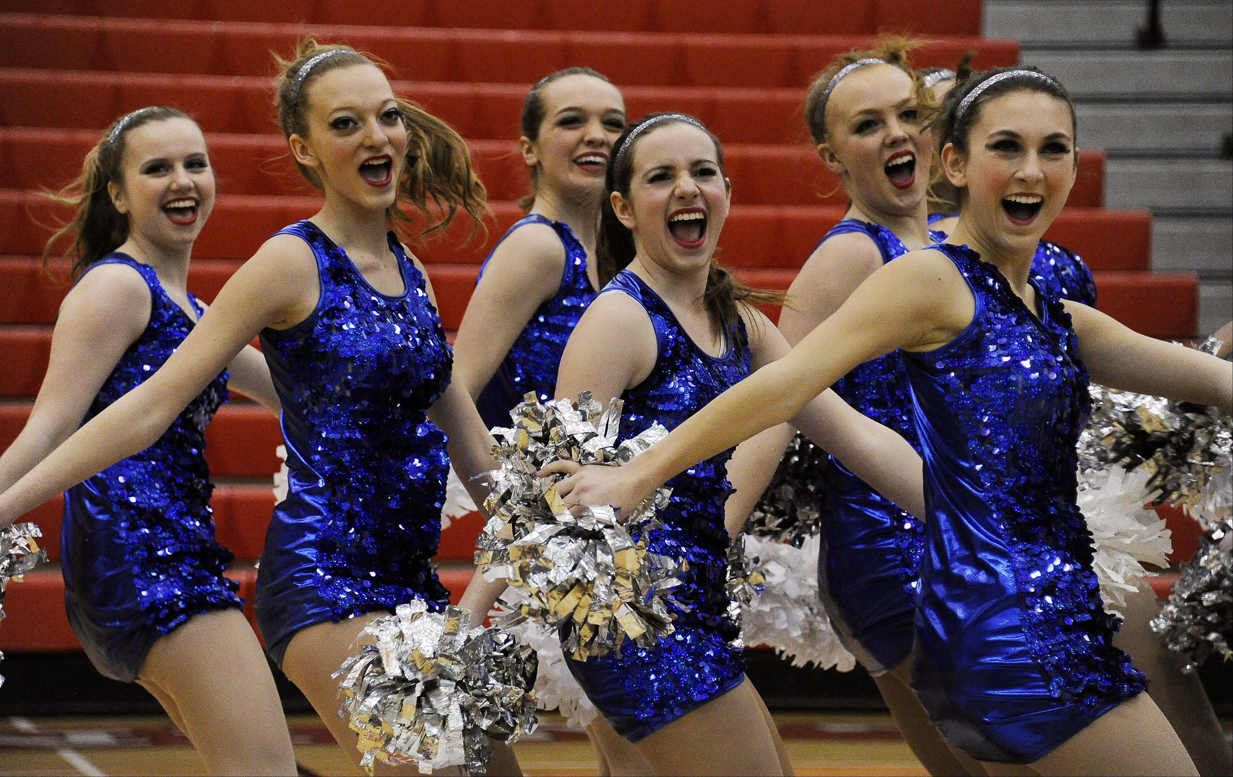 Dancing in the (2A) division are members of the Glenbard South High School dance squad with Hannah Ohlmann (center) leading the way in the 1st annual Sectional Competition at Palatine High School on Saturday.