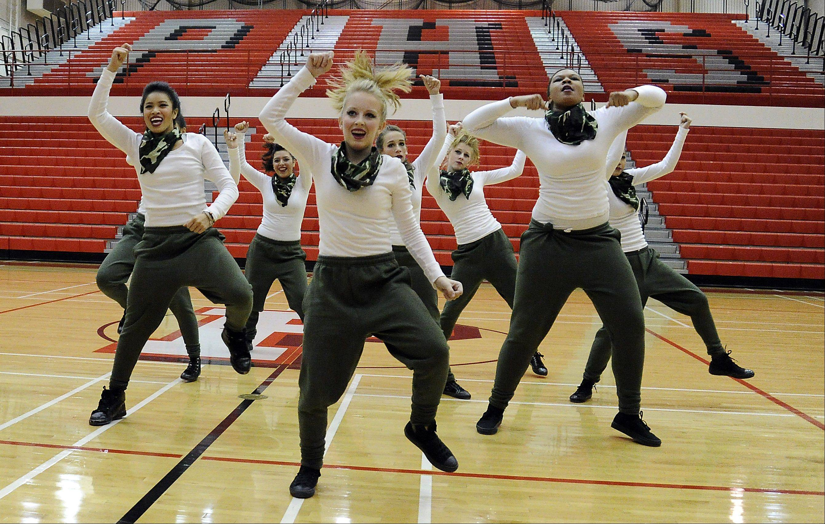 Dancing in the (2A) division are members of the Hampshire High School dance squad in the 1st annual Sectional Competition at Palatine High School on Saturday.
