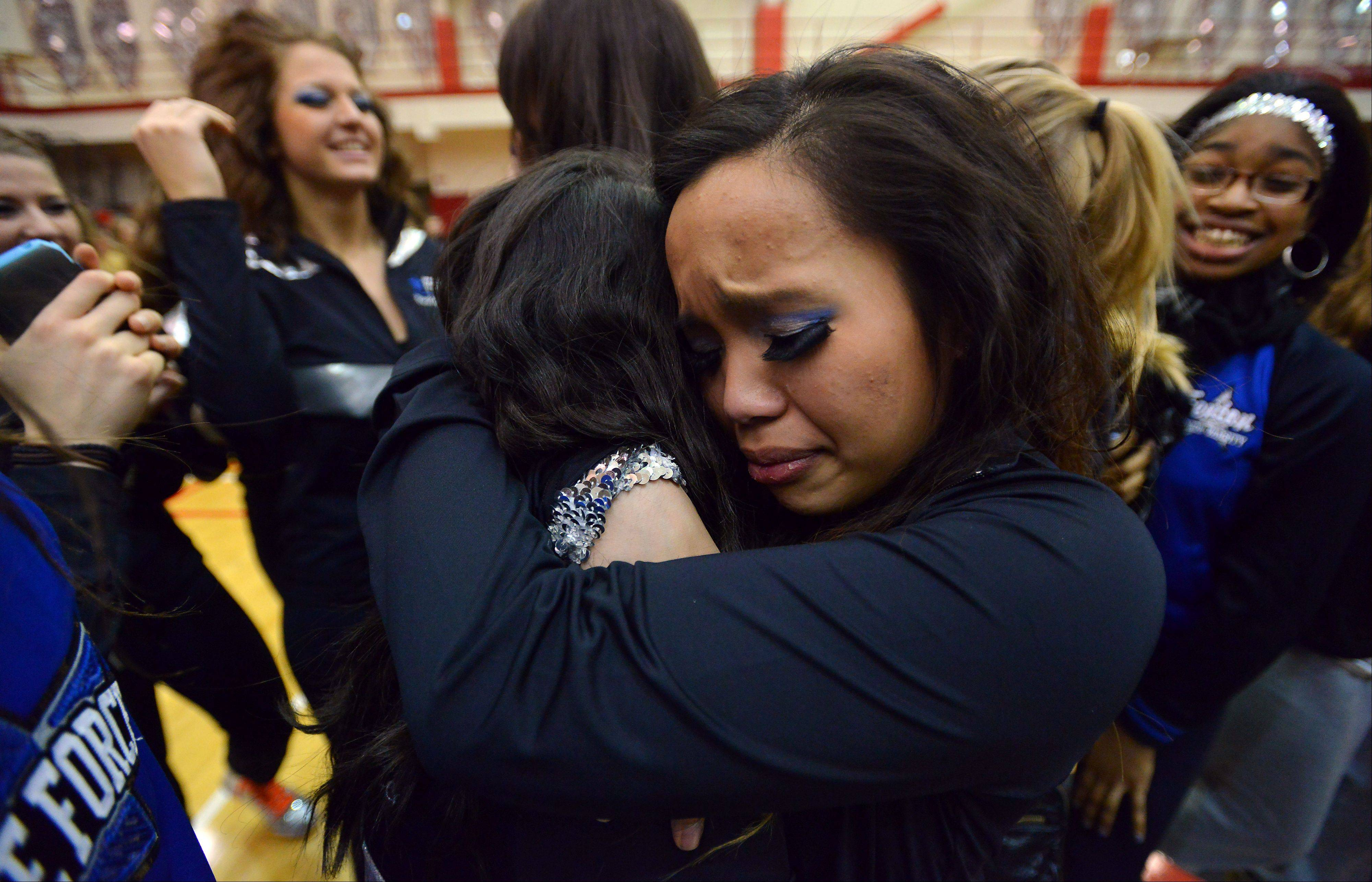 Winners in the (2A) division and will be heading downstate are Fenton as team member Nicole Reyes is overcome by her emotions in front of packed house in the 1st annual Sectional Competition at Palatine High School on Saturday.