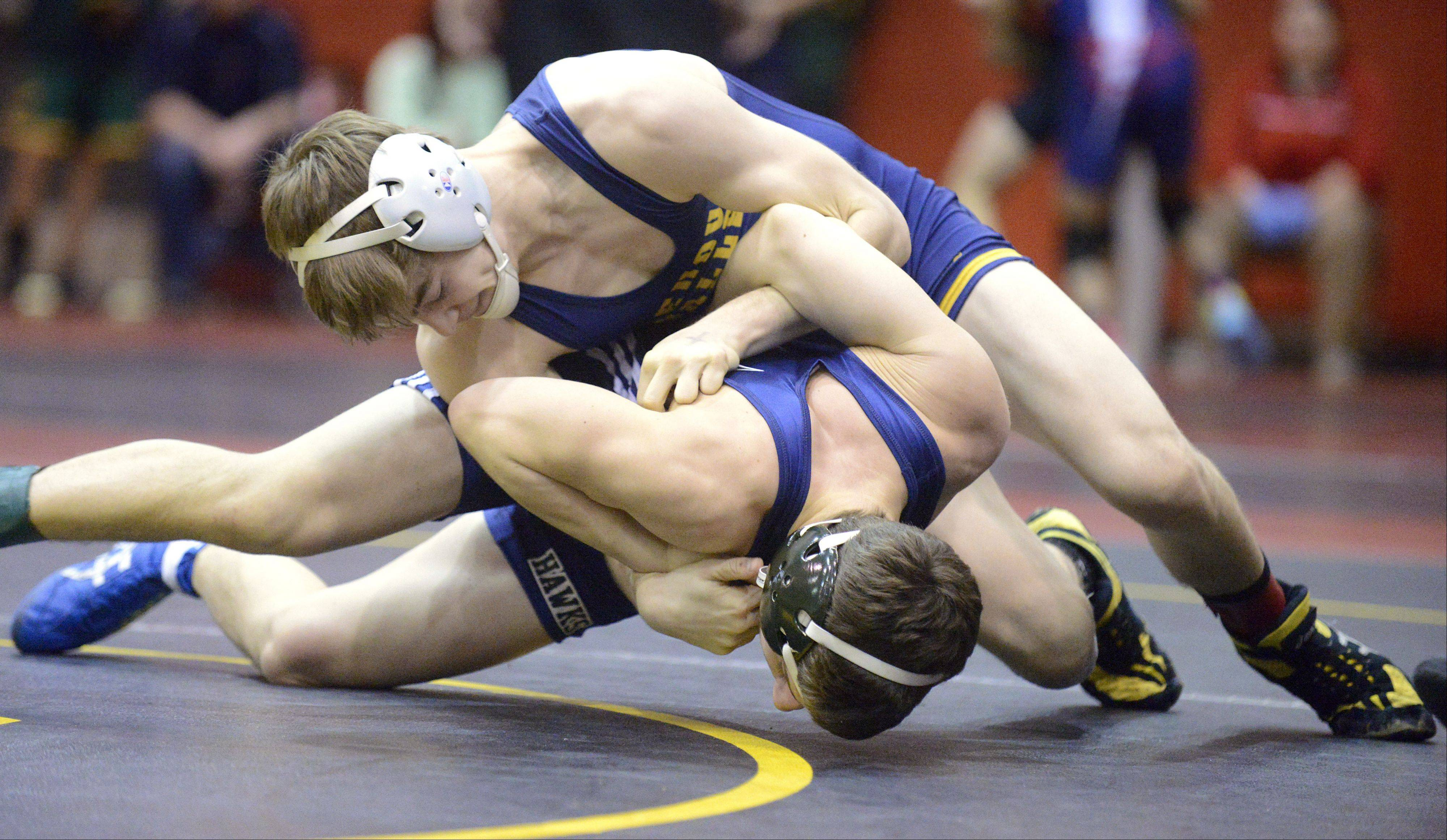 Neuqua Valley's Justin Killacky takes Bartlett's Anthony Zipparro in the semifinals 120-pound match of the Upstate Eight mega conference on Saturday, January 19.