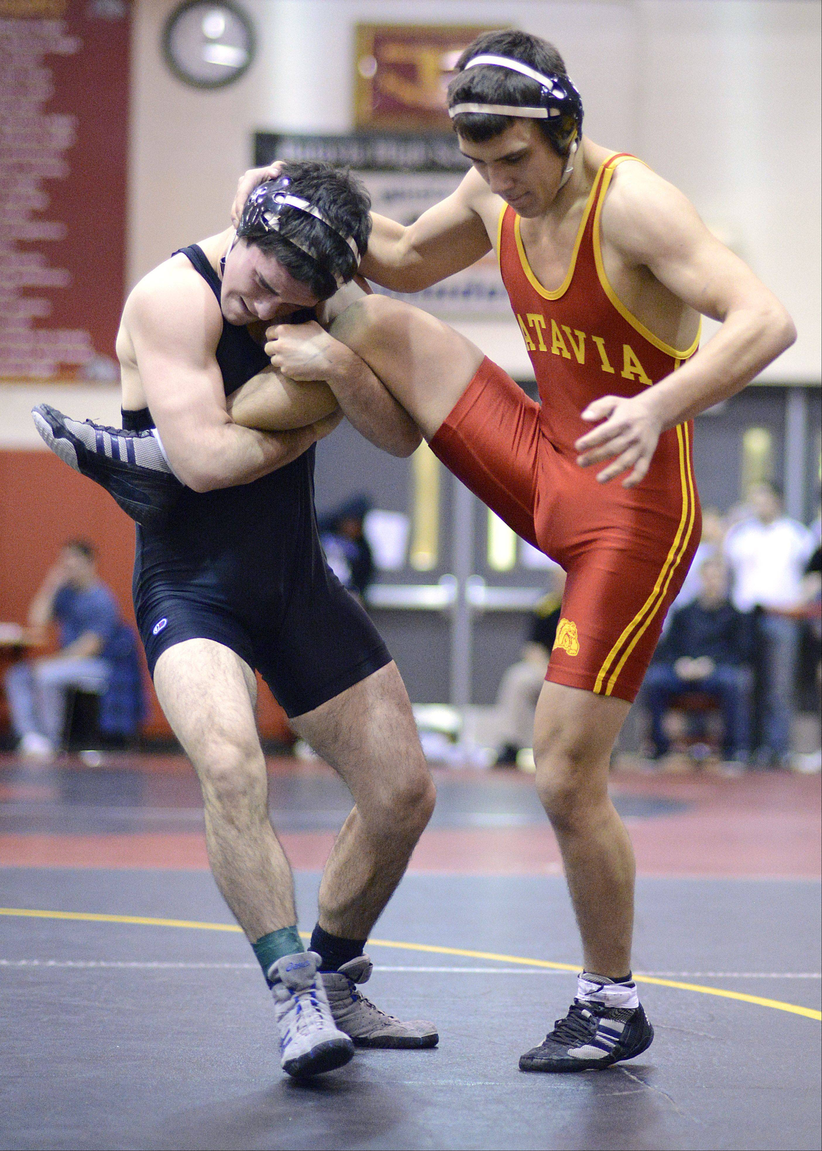 Geneva's Alex Kunkel and Batavia's Jon Wagner in the semifinals 160-pound match of the Upstate Eight mega conference on Saturday, January 19. Wagner turned it around to take the match.
