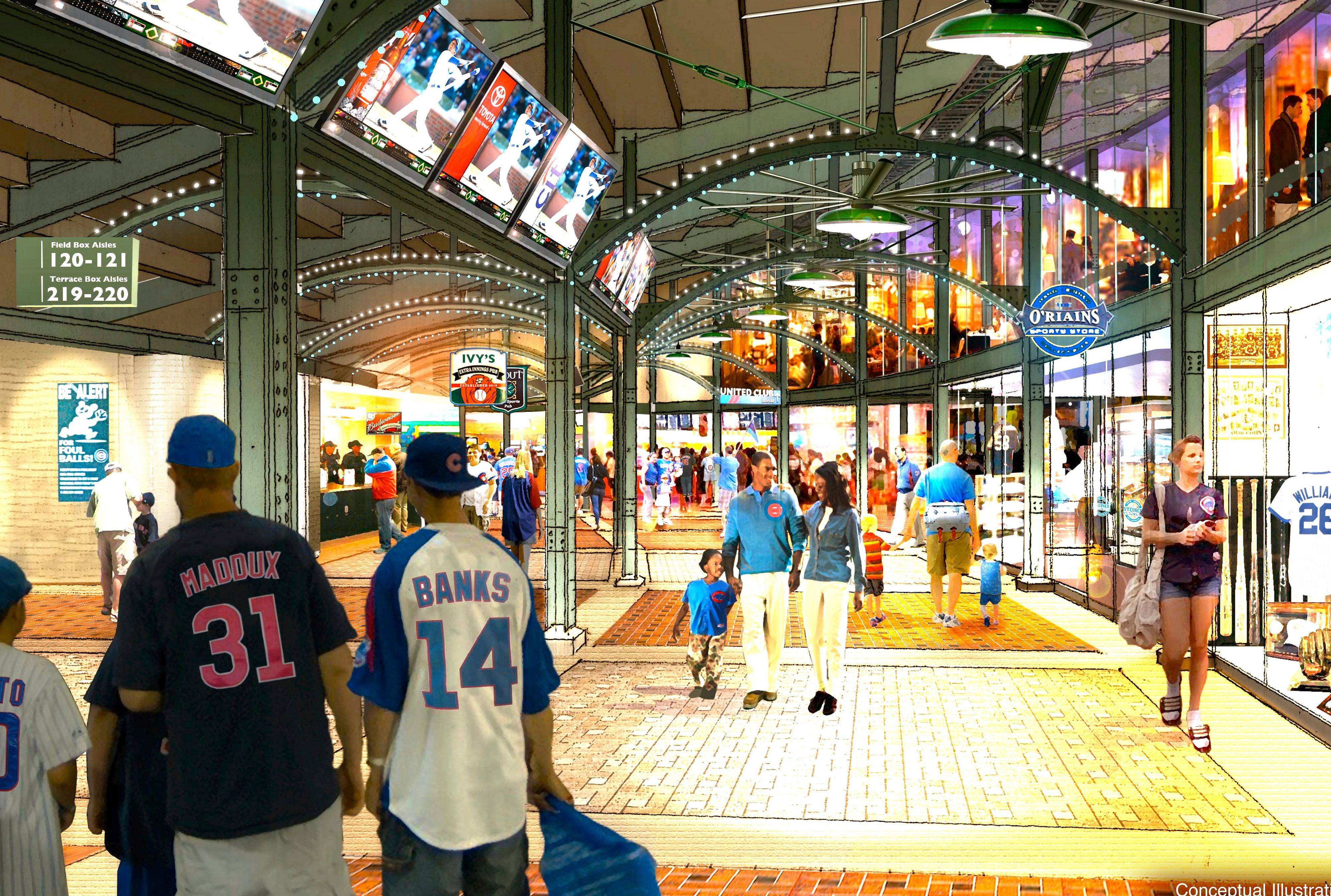 This is what the outside concourse could look like under the Cubs' five-year renovation plan being proposed for Wrigley Field.
