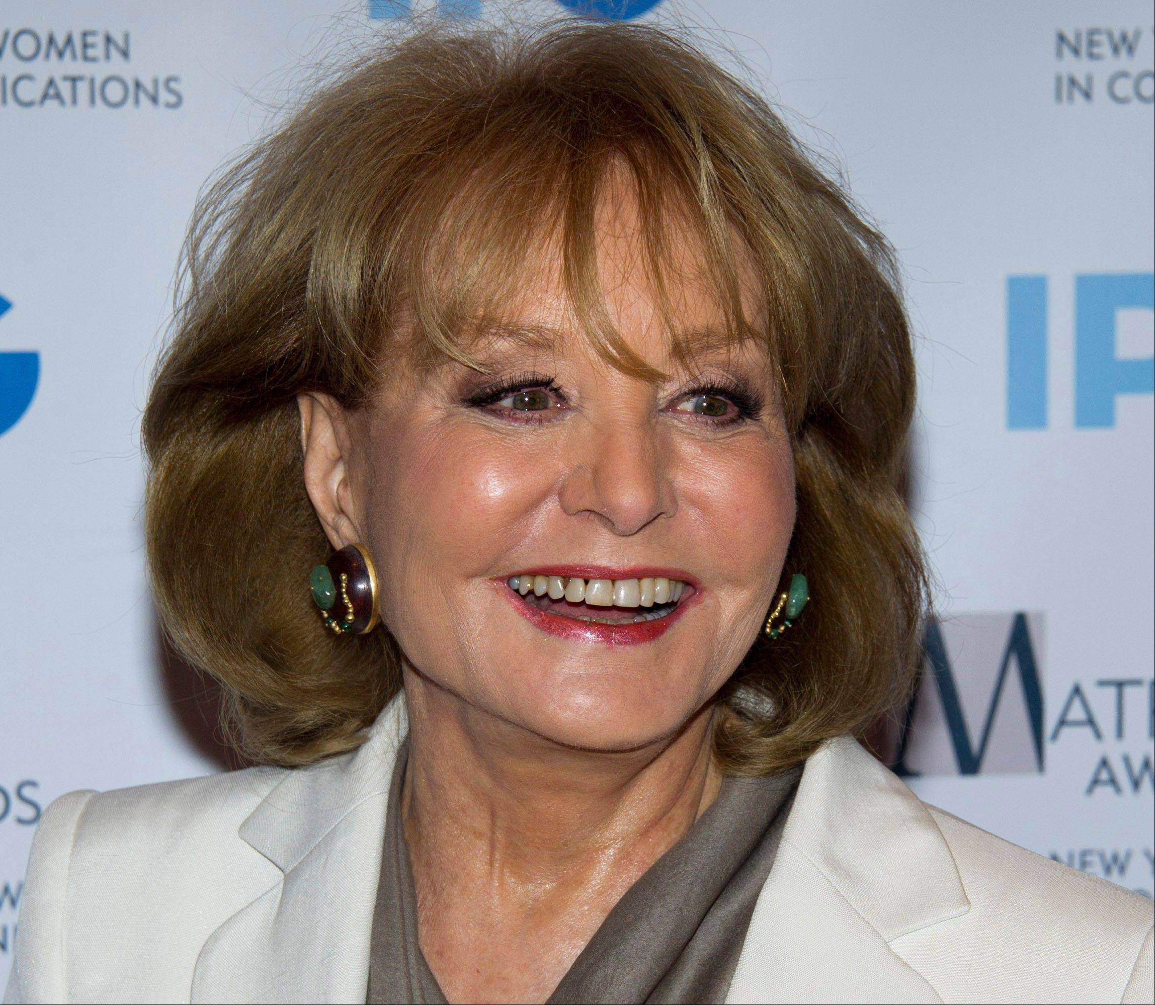 In this Monday, April 23, 2012 photo, veteran ABC newswoman Barbara Walters arrives to the Matrix Awards in New York. Walters has fallen at an inauguration party in Washington and has been hospitalized, according to an ABC News spokesman, Sunday.