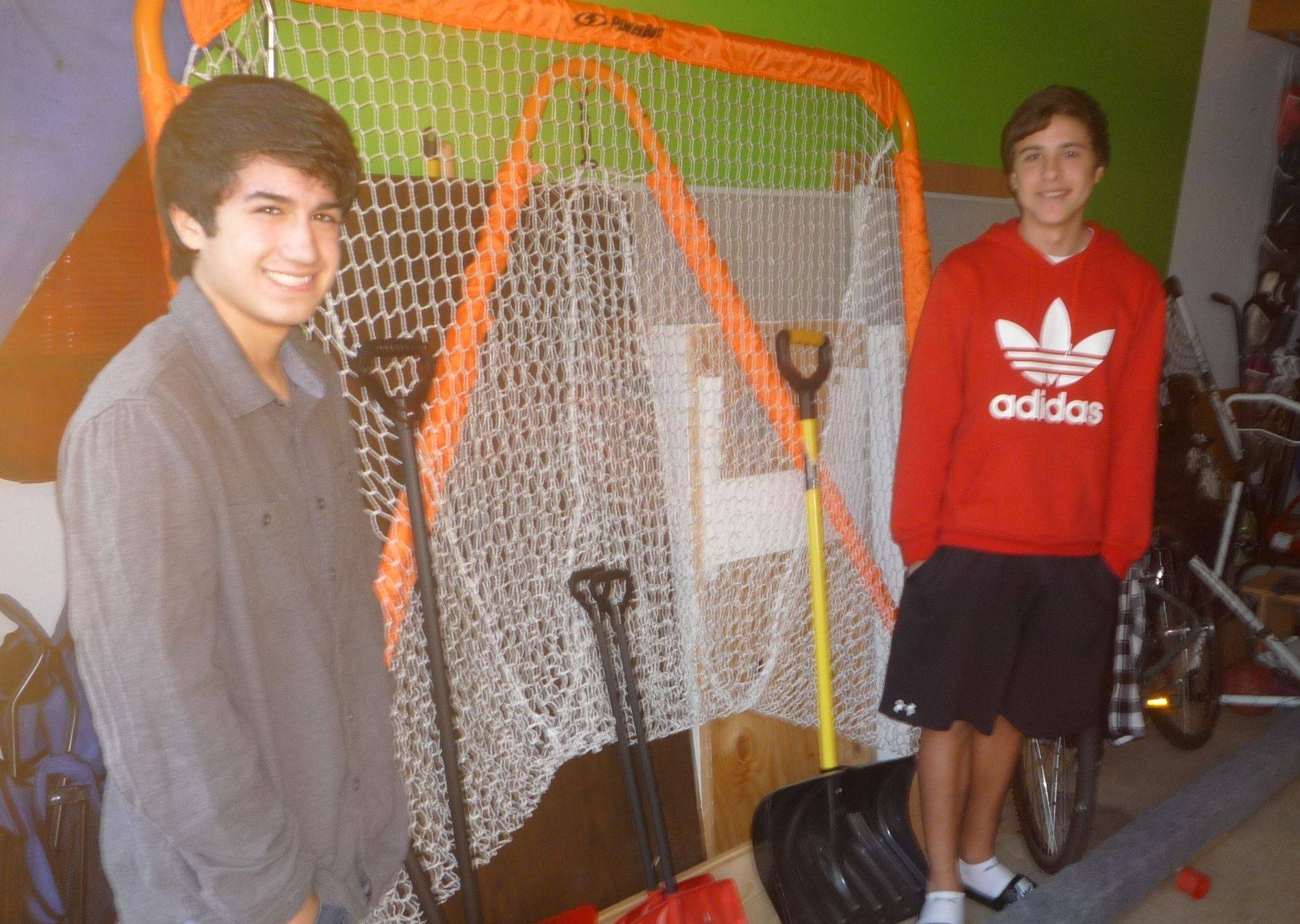So far this winter, the lacrosse net has been more likely to see action than the snow shovels. This is bad news for The Shovel Boys business started by Sean Rooney, left, and Nick Pardo.