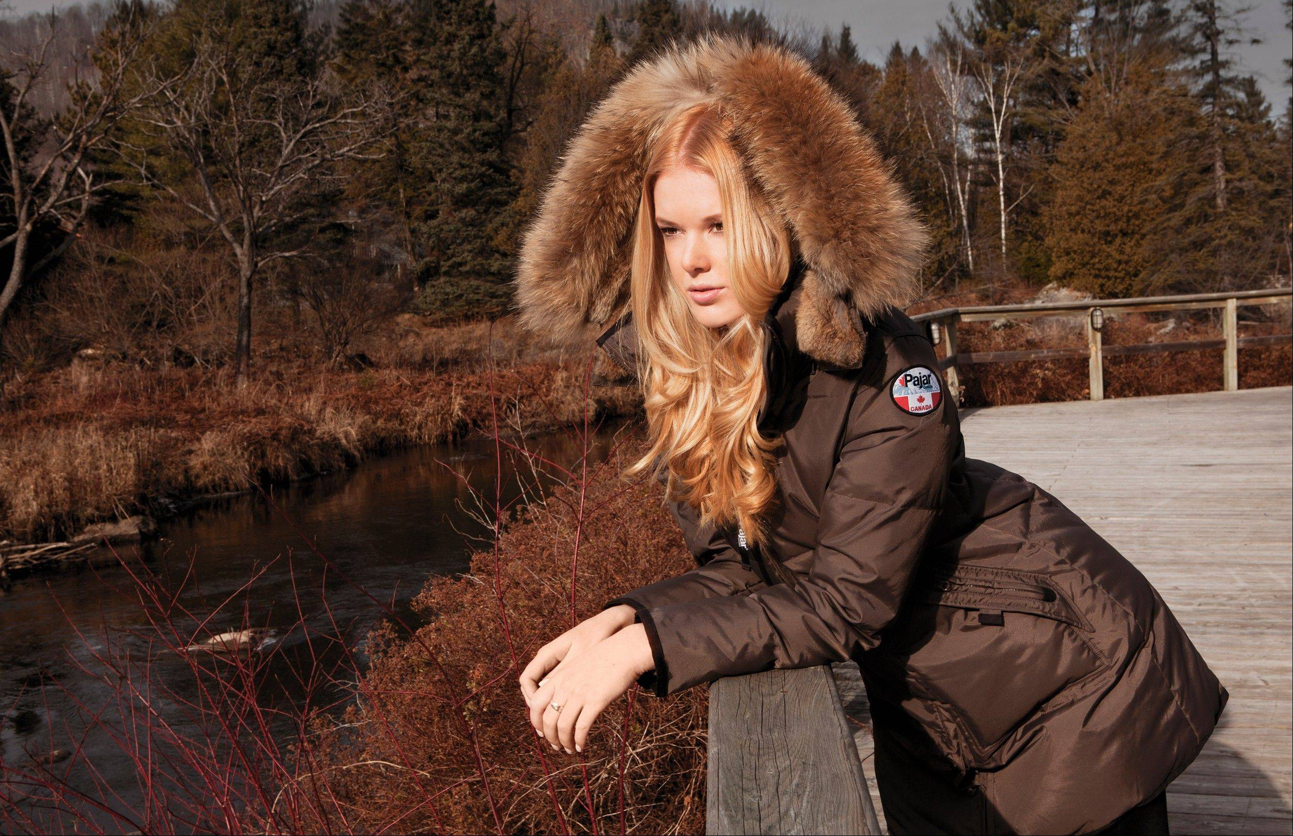 A mocha-colored Cougar jacket made of rabbit and raccoon fur.