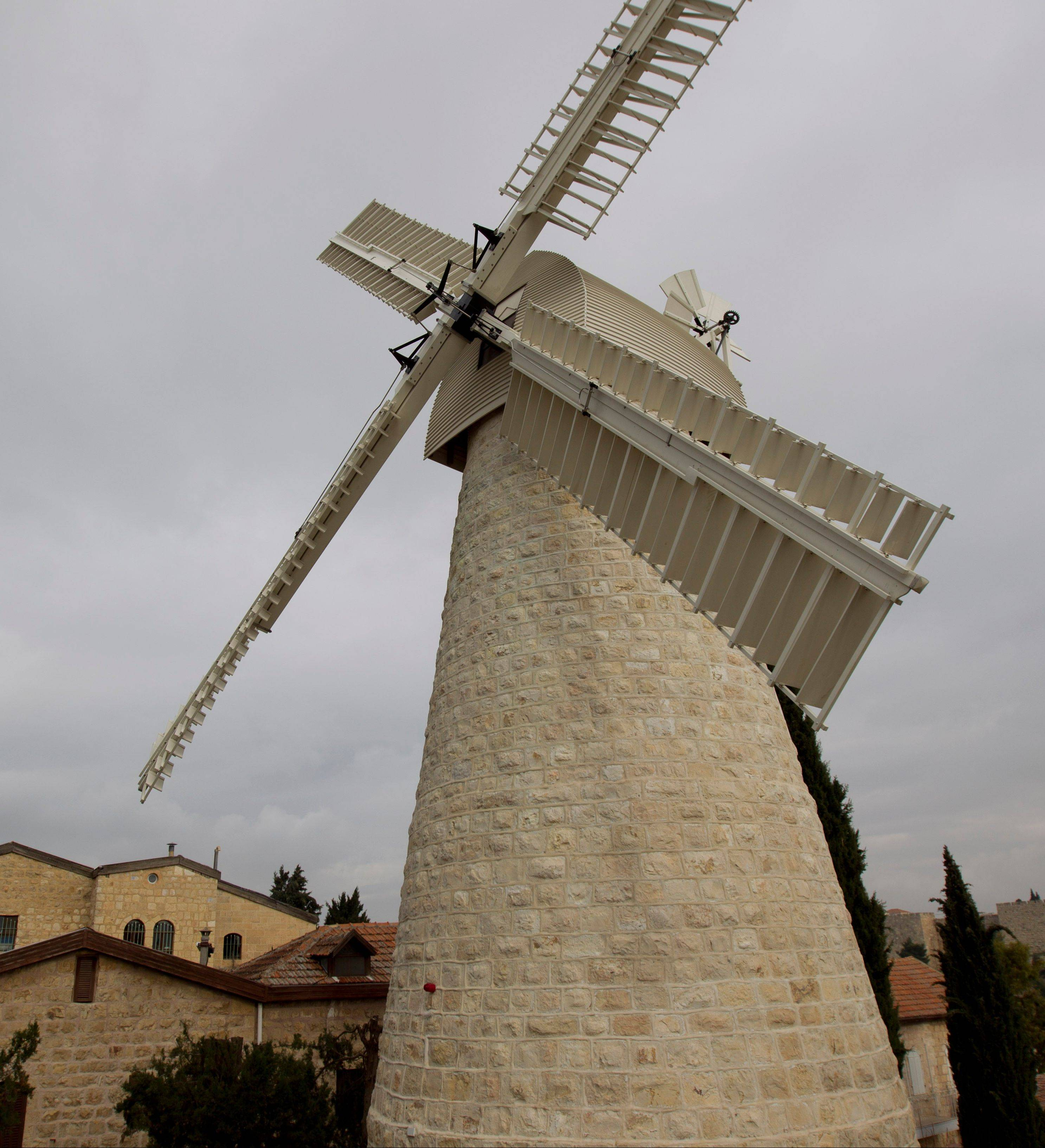 The Montefiore Windmill in the Mishkenot Shaananim neighborhood in Jerusalem was constructed in 1860 by Sir Moshe Montefiore, a wealthy British Jew. Mishkenot Shaíananim was the first Jewish neighborhood built outside the Old City walls.