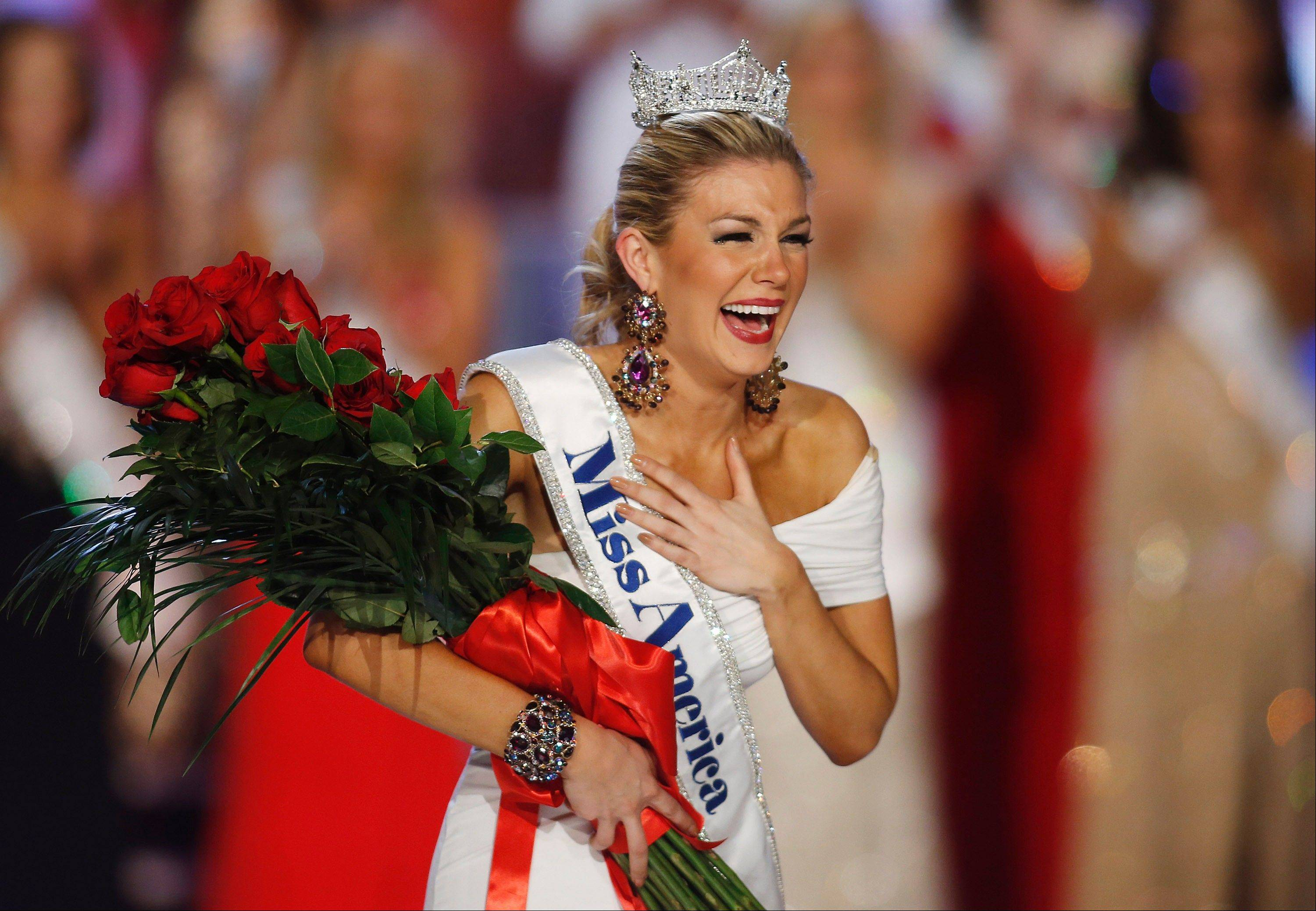 Miss New York Mallory Hytes Hagan reacts as she is crowned Miss America 2013 on Saturday, Jan. 12, 2013, in Las Vegas.