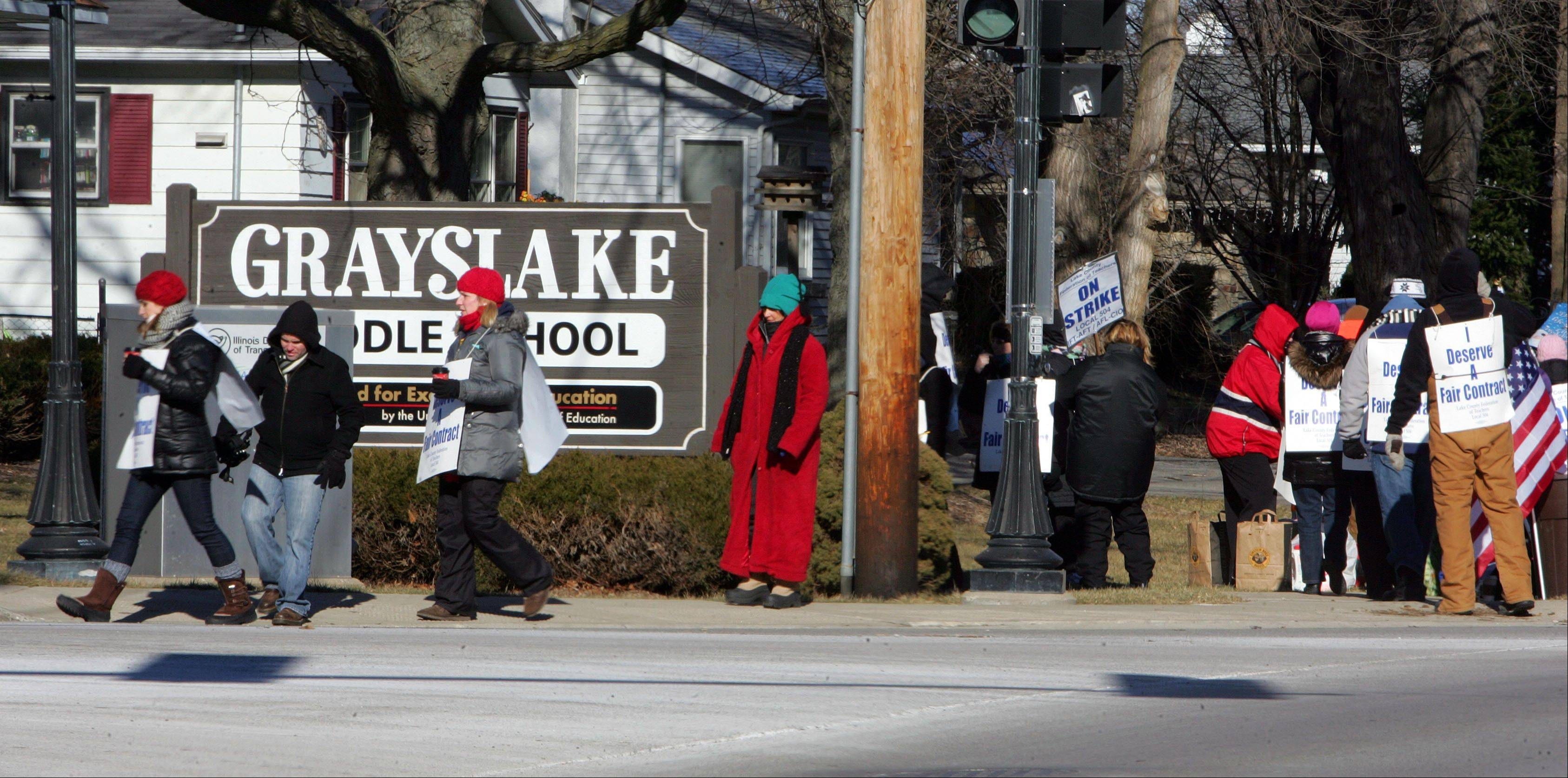 Grayslake Elementary District District 46 teachers picketed Thursday on Route 83 near Grayslake Middle School. They'll be back on the picket lines Tuesday if they don't have a new contract by then.